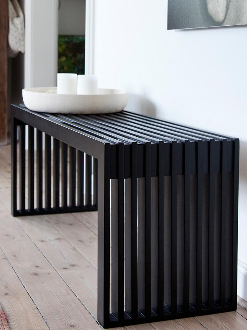 Moderne mahoniehouten bank Rib, Gelakt mahoniehout, Zwart, 104 x 43 cm