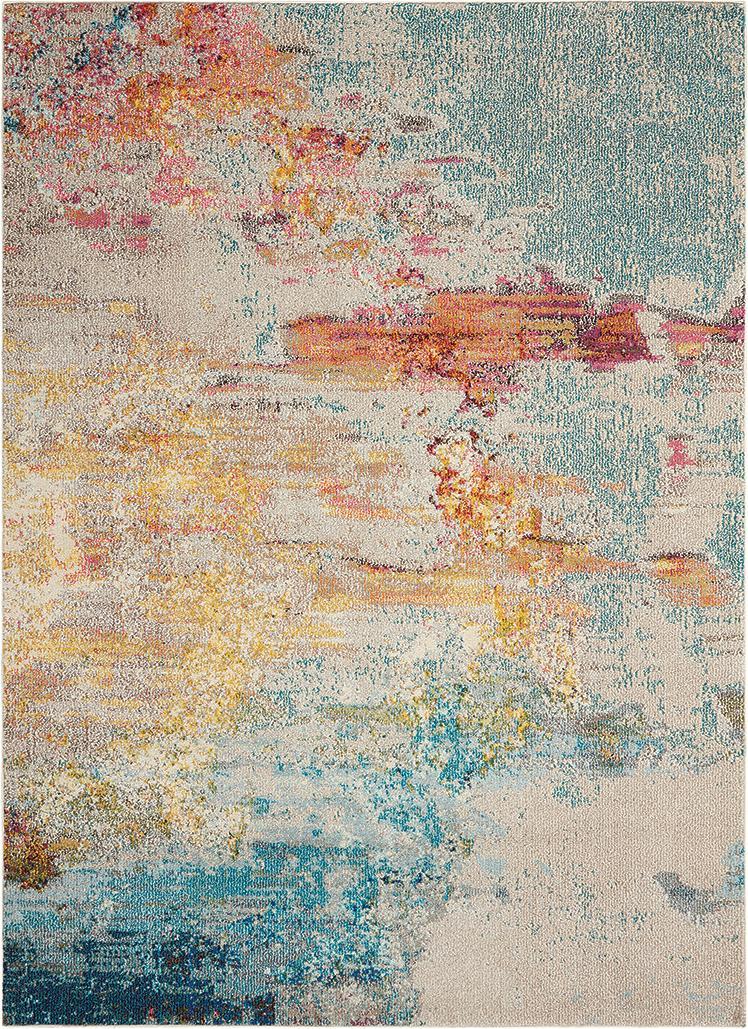 Alfombra de diseño Celestial, Parte superior: 100%polipropileno, Reverso: yute, Multicolor, An 160 x L 220 cm (Tamaño M)