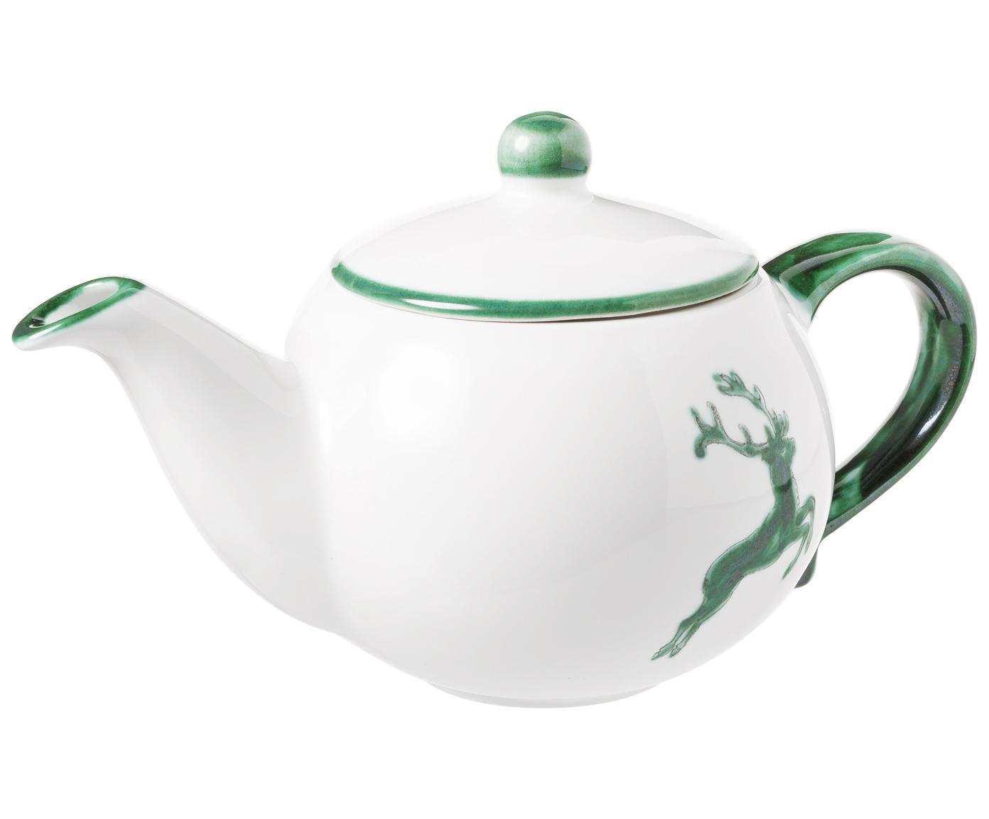 Ręcznie malowany czajnik Classic Grüner Hirsch, Ceramika, Zielony, biały, 500 ml