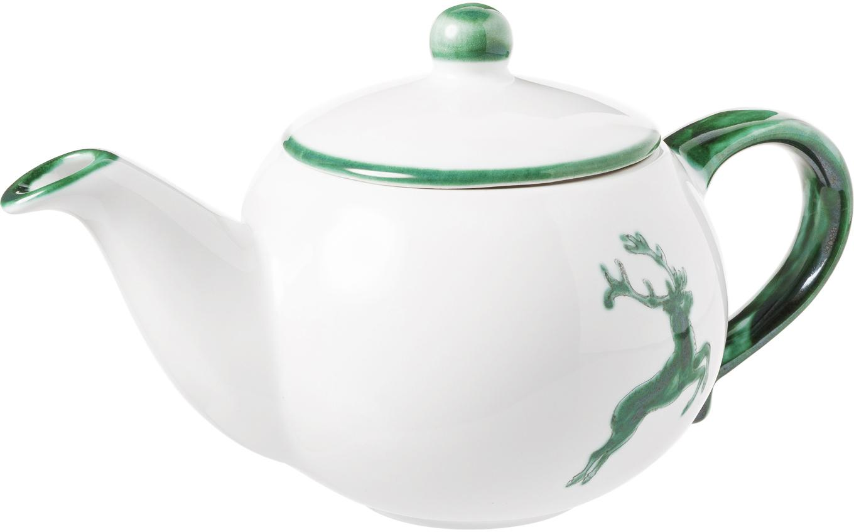 Handbeschilderde theepot Classic Green Deer, Keramiek, Groen, wit, 500 ml