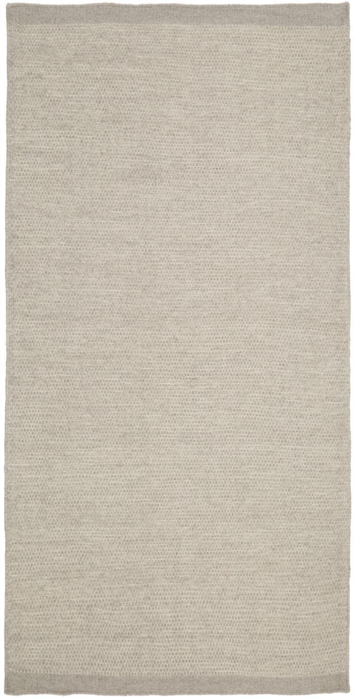 Handgeweven wollen vloerkleed Delight, Bovenzijde: 90% wol, 10% katoen, Onderzijde: katoen, Lichtgrijs, B 70 x L 140 cm (maat XS)