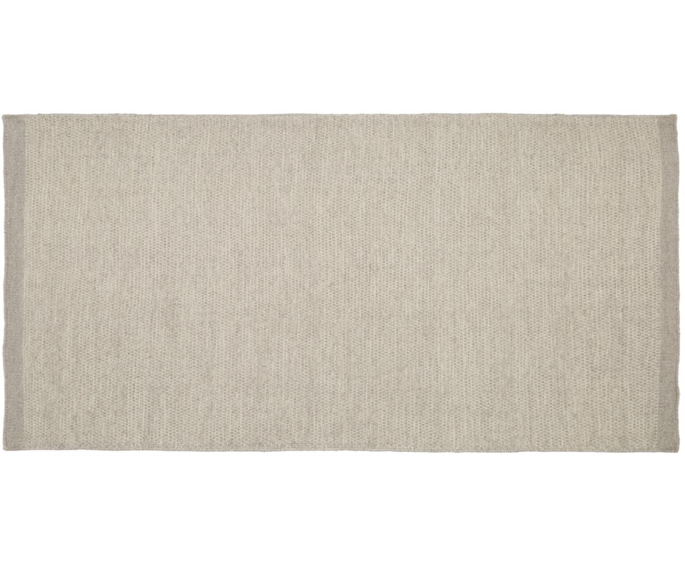 Alfombra kilim artesanal de lana Delight, Gris claro, An 70 x L 140 cm (Tamaño XS)