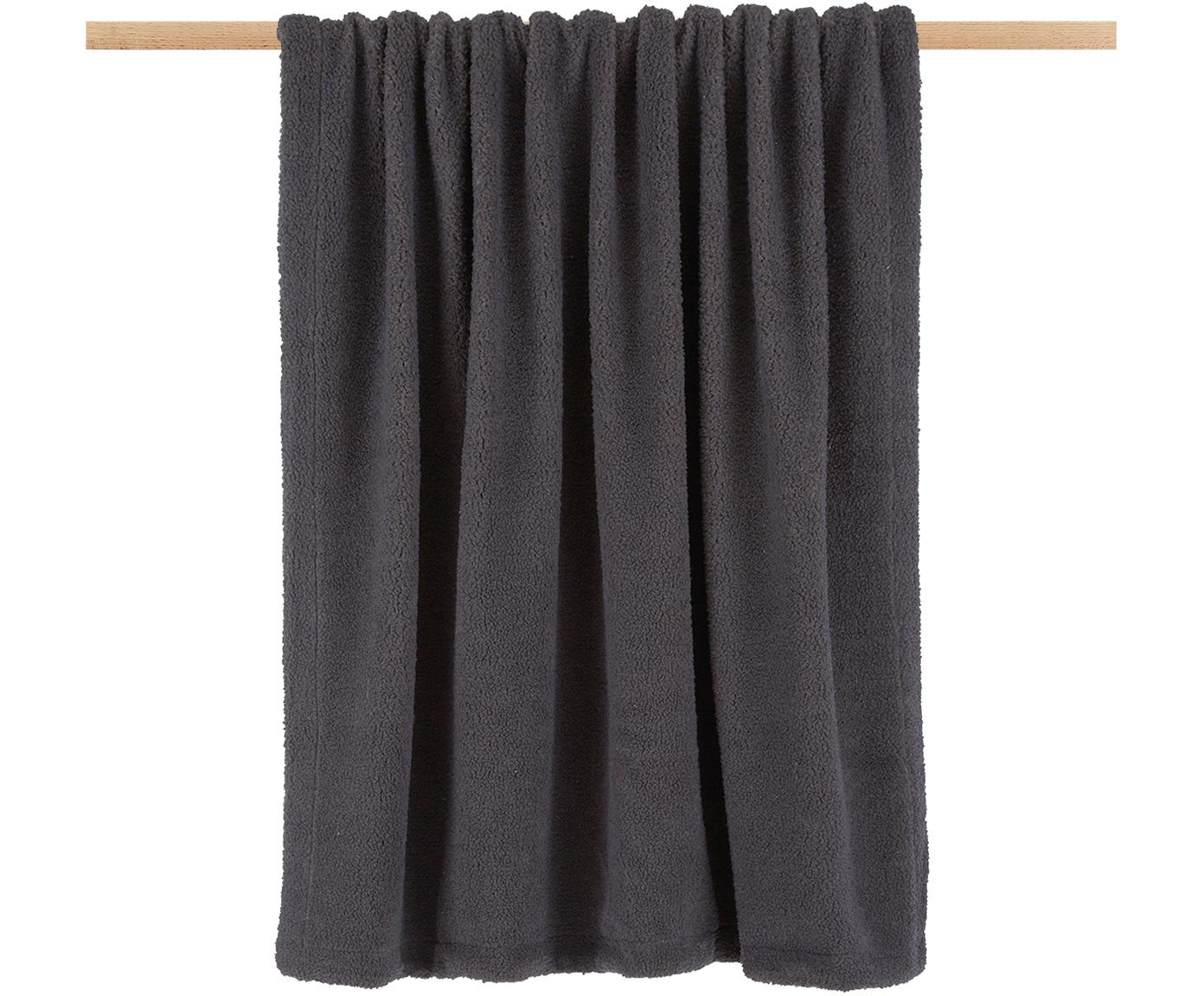 Manta de borreguillo Mille, Parte superior: 100%poliéster (borreguil, Parte trasera: 100%poliéster, Gris oscuro, An 150 x L 200 cm