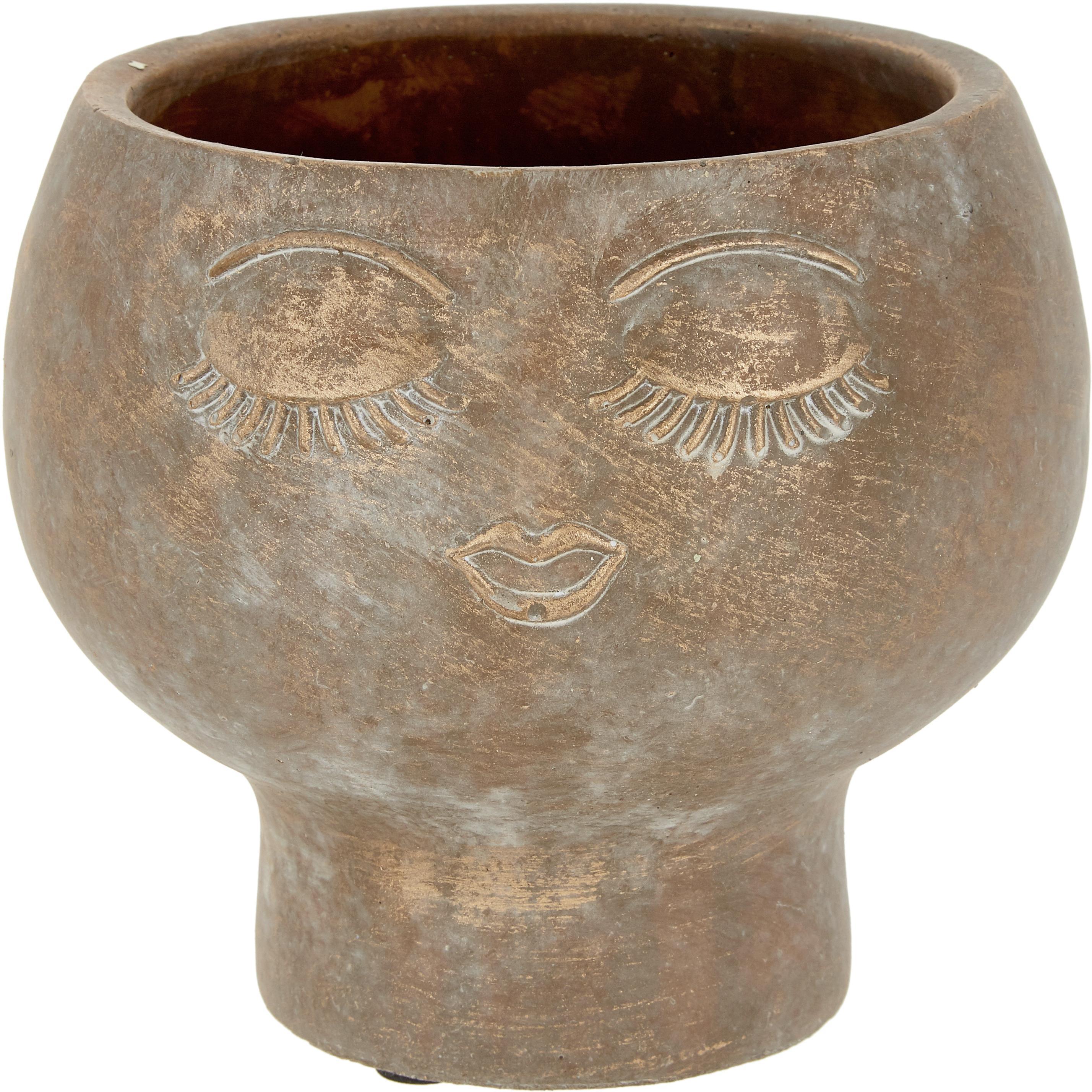 Macetero Consi, Cemento, recubierto, Latón, Ø 16 x Al 17 cm