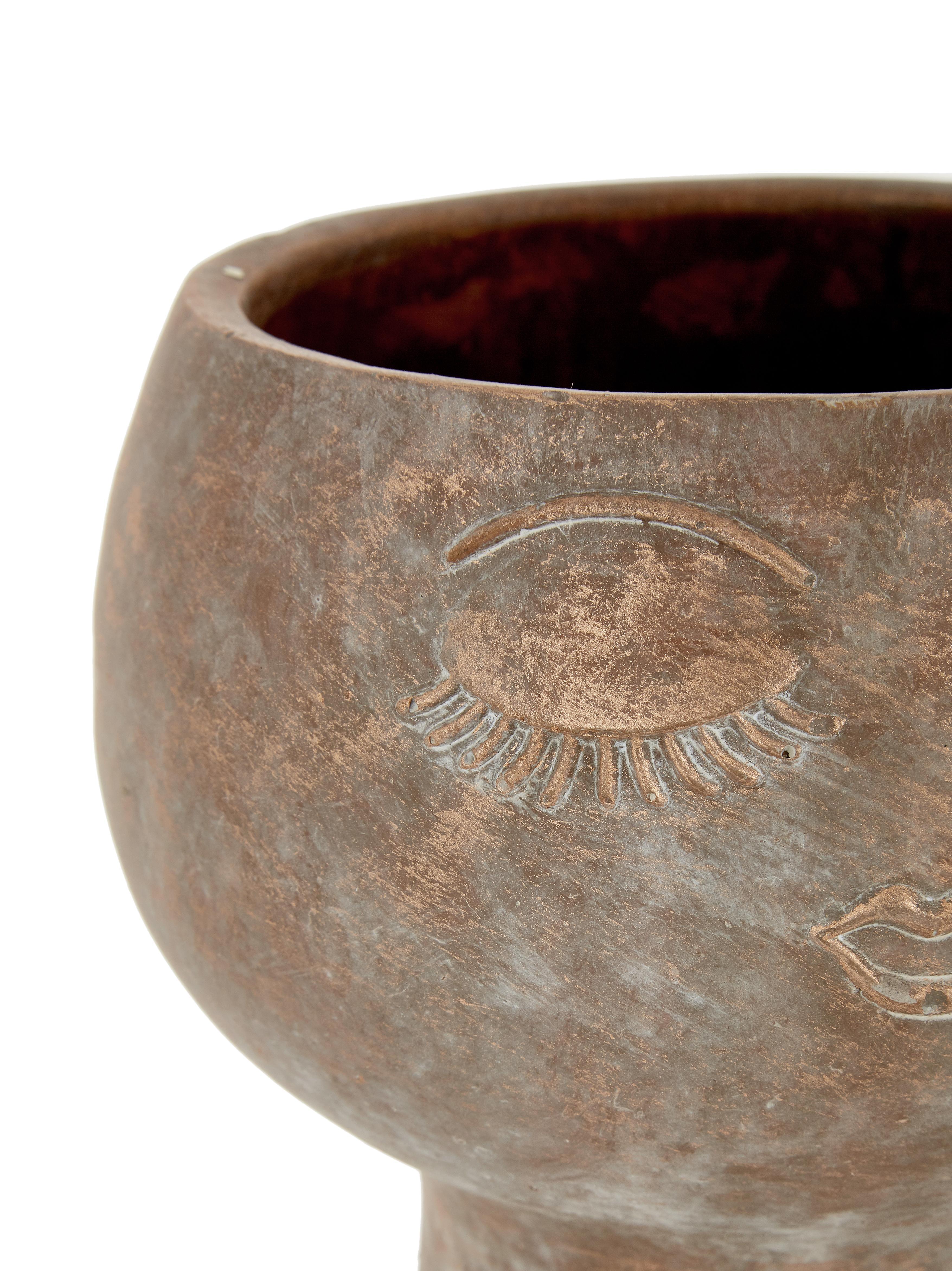 Portavasi Consi, Cemento, rivestito, Ottonato, Ø 16 x Alt. 17 cm
