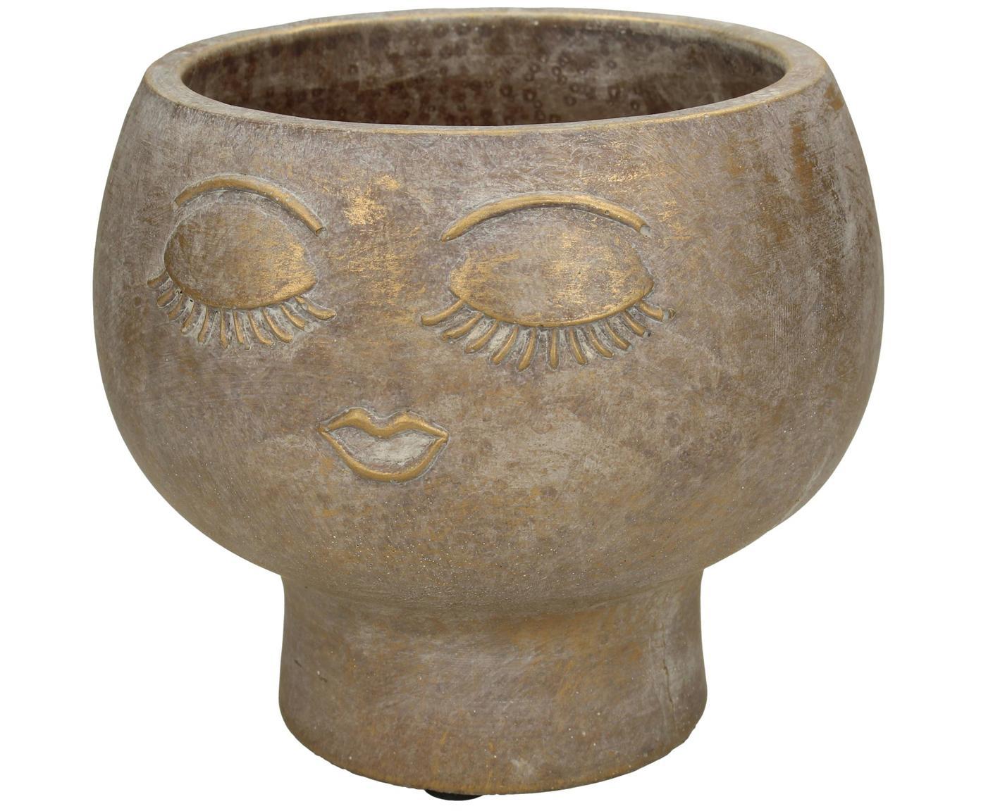Osłonka na doniczkę Consi, Cement powlekany, Odcienie mosiądzu, Ø 16 x W 17 cm