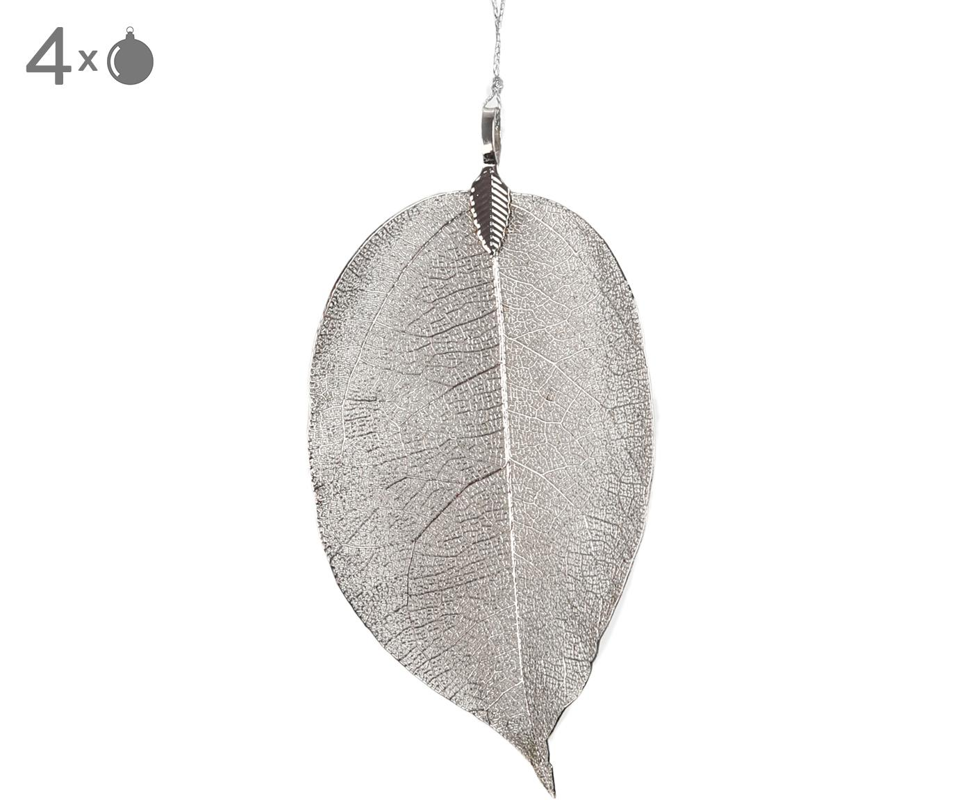Adornos navideños XL Leava, 4uds., Ojal: metal reubierto, Plateado, An 6 x Al 17 cm