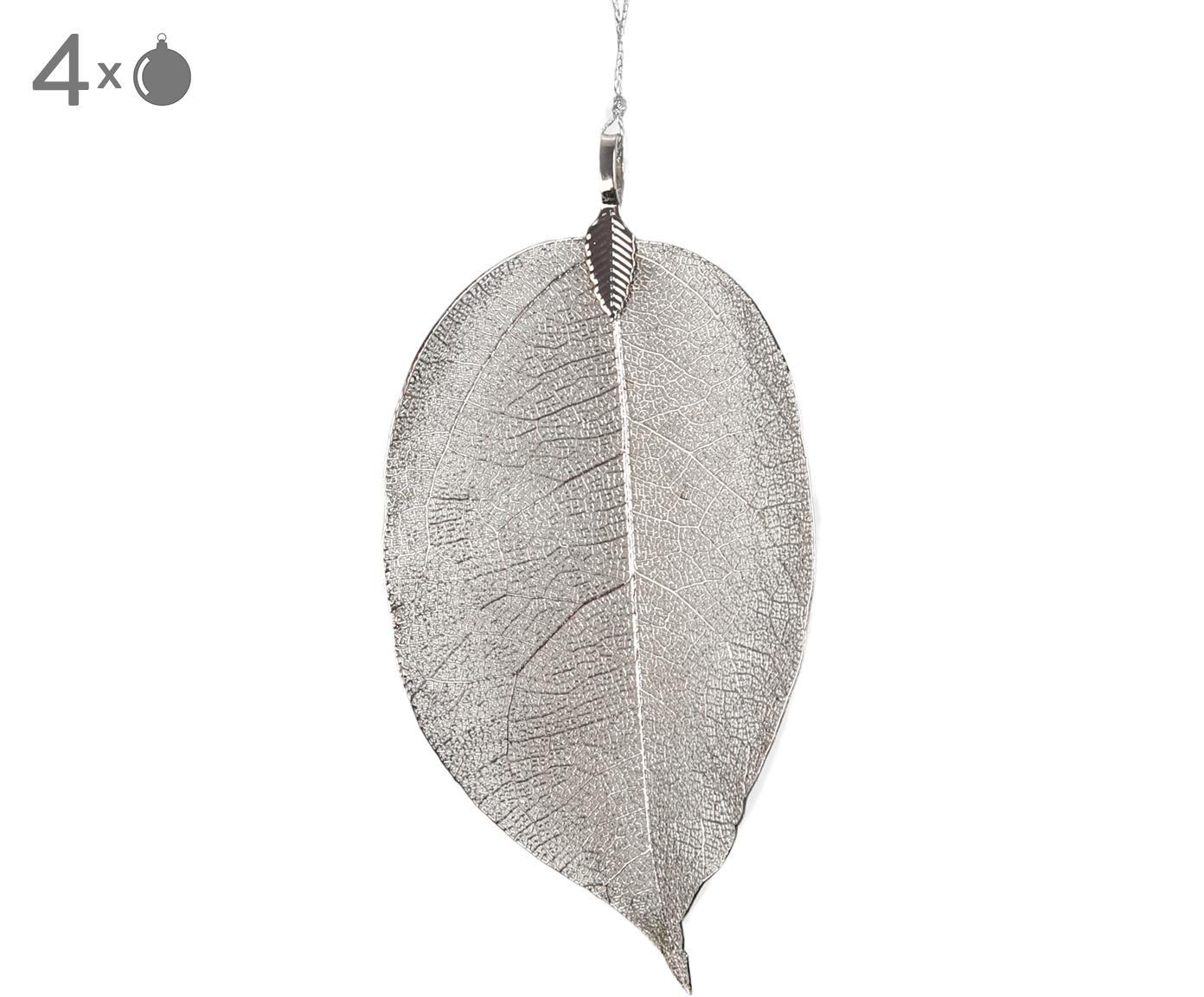 XL Baumanhänger Leava, 4 Stück, Öse: Metall, beschichtet, Silberfarben, 6 x 17 cm