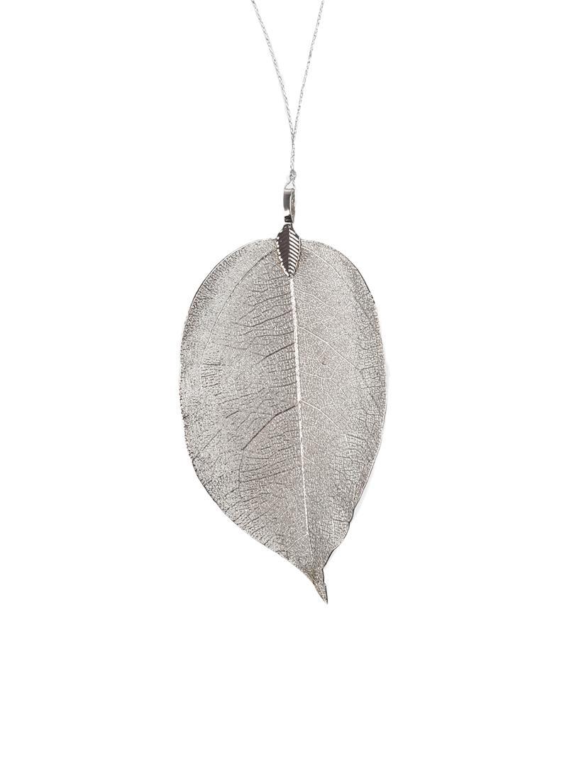 Kerstboomhangers Leava, 4 stuks, Blad: echt geverfd blad, Zilverkleurig, 6 x 17 cm