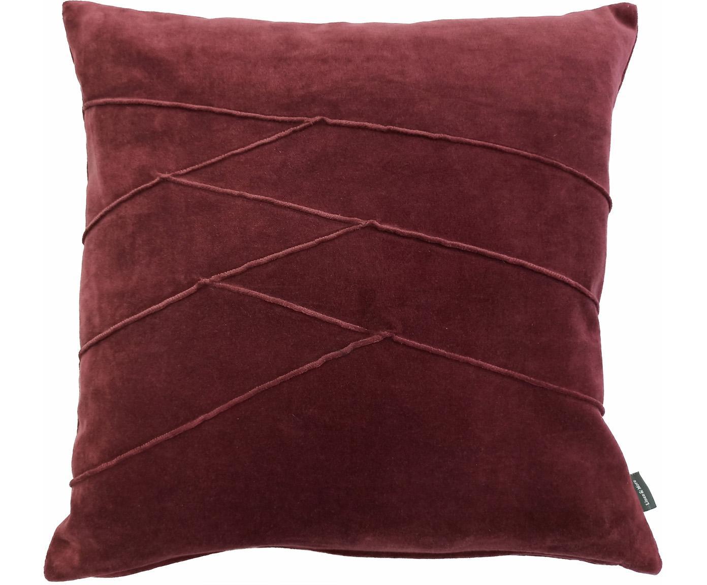 Cuscino in velluto con imbottitura Pintuck, Rivestimento: 55% rayon, 45% cotone, Bordeaux, Larg. 45 x Lung. 45 cm