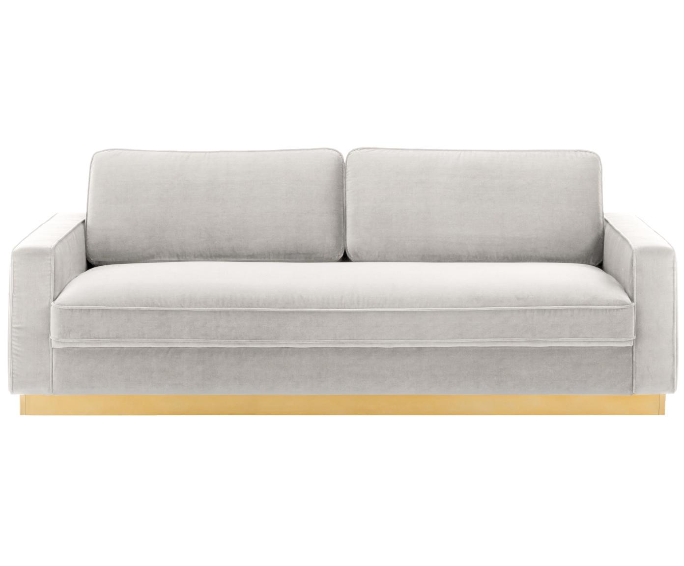 Sofa z aksamitu Chelsea (3-osobowa), Tapicerka: aksamit (wysokiej jakości, Stelaż: masywne drewno świerkowe, Stelaż: metal powlekany, Aksamitny jasny szarobeżowy, S 228 x G 100 cm