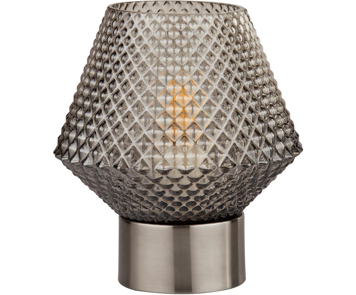 Kleine Tischleuchte Luisville aus Glas, Sockel: Stahl, beschichtet, Lampenschirm: Glas, Grau, Ø 15 x H 18 cm