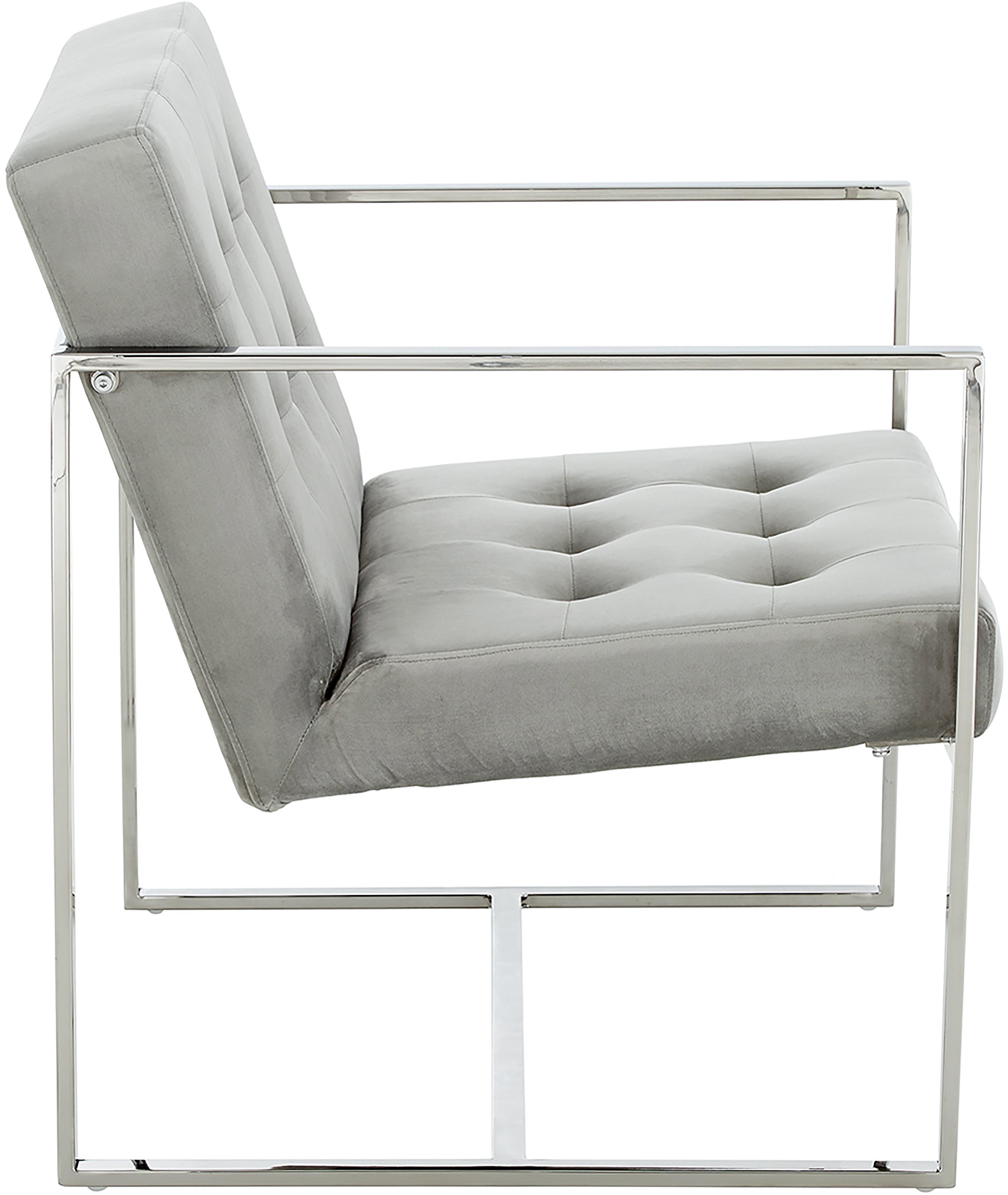 Samt-Loungesessel Manhattan in Grau, Bezug: Samt (Polyester) 30.000 S, Gestell: Metall, galvanisiert, Samt Grau, 70 x 79 cm