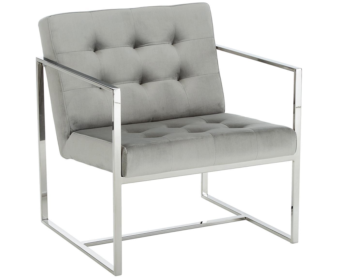 Fluwelen lounge fauteuil Manhattan in grijs, Bekleding: fluweel (polyester), Frame: gegalvaniseerd metaal, Bekleding: grijs Frame: glanzend zilverkleurig, 70 x 72 cm