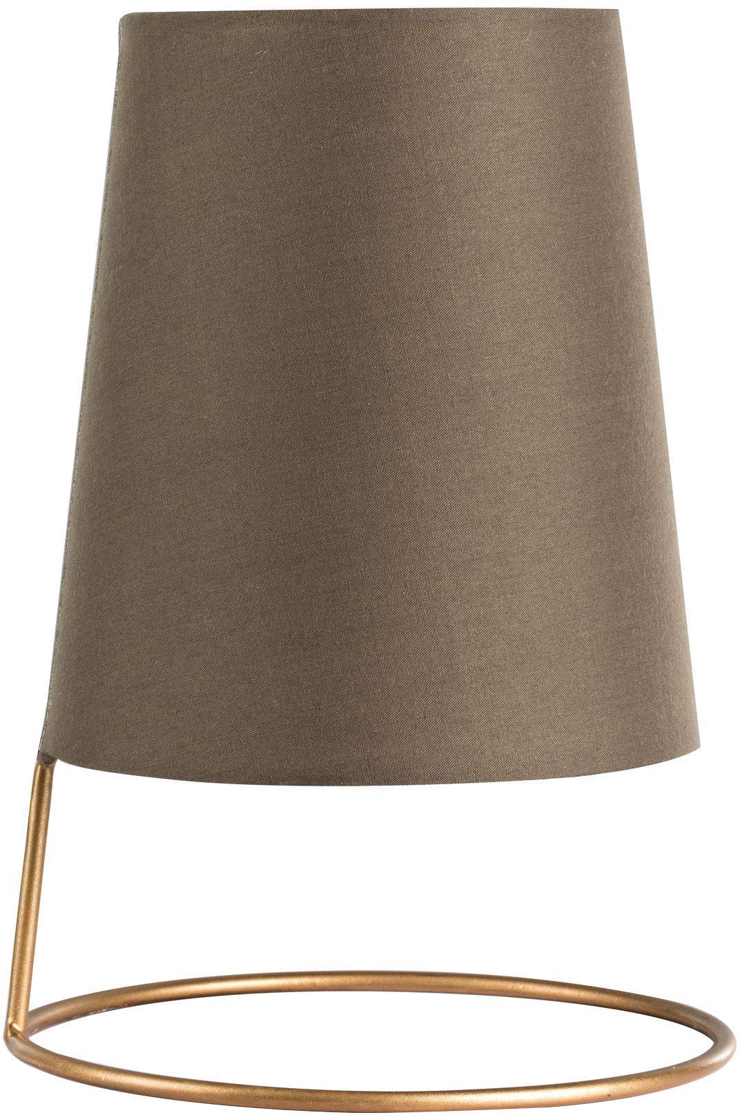 Kleine Retro-Tischlampe Ata, Lampenschirm: Baumwollgemisch, Lampenfuß: Metall, beschichtet, Goldfarben, Braun, Ø 18 x H 26 cm