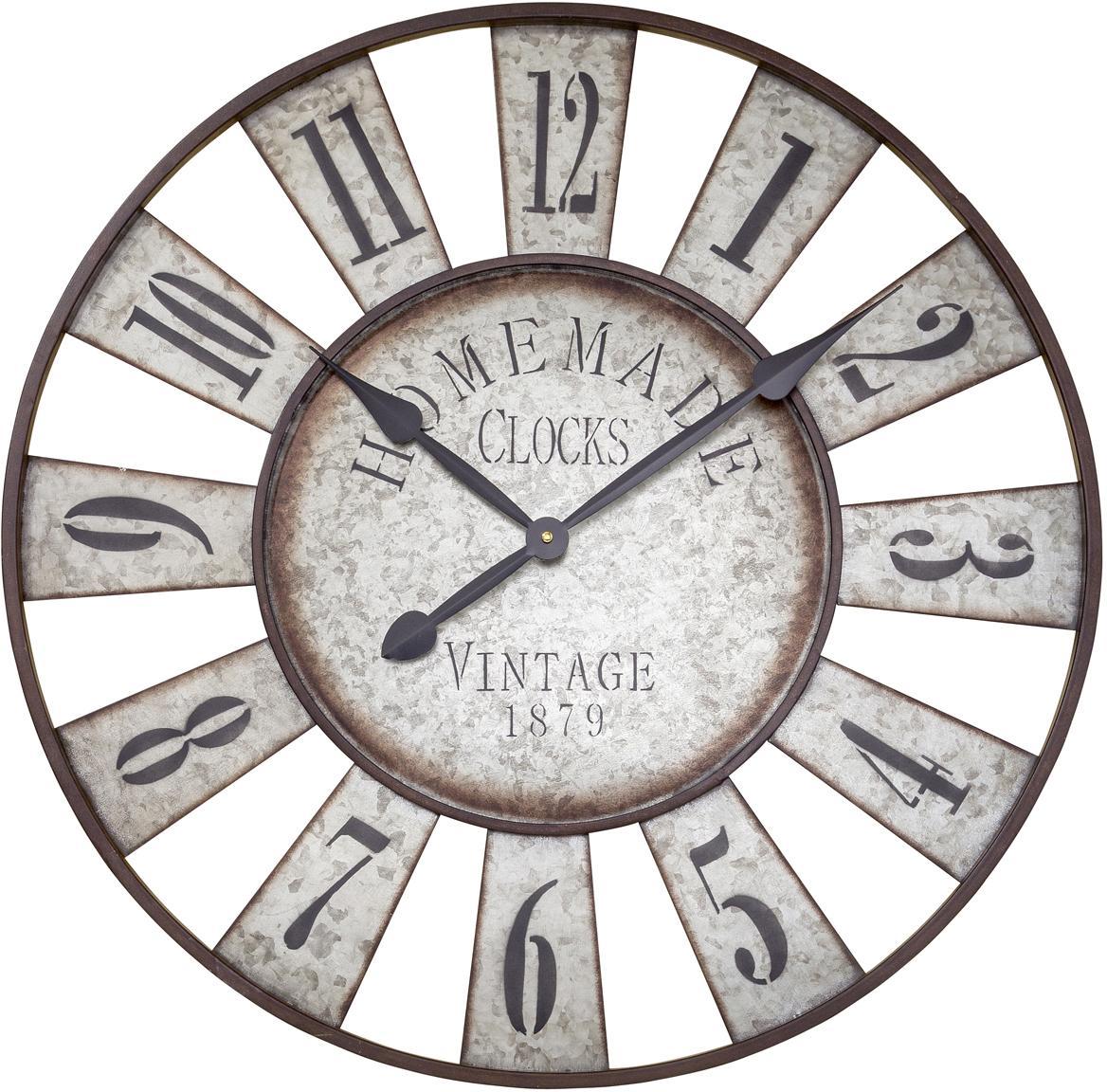 Reloj de pared Anatol, Metal galvanizado, Zinc, negro, marrón, Ø 73 cm