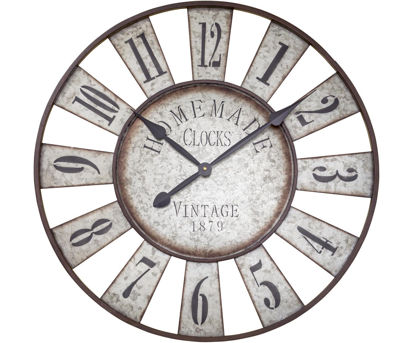 Zegar ścienny Anatol, Metal ocynkowany, Cynk, czarny, brązowy, Ø 73 cm