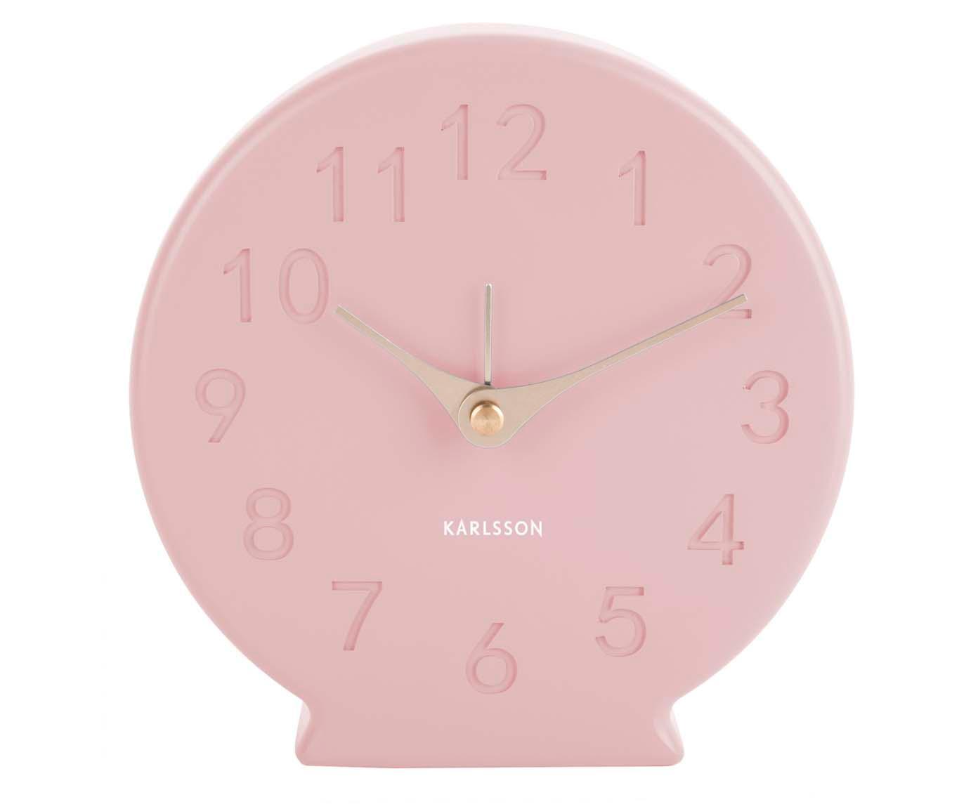 Wekker Sole, Wijzerplaat: polyresin, Roze, messingkleurig, Ø 14 cm
