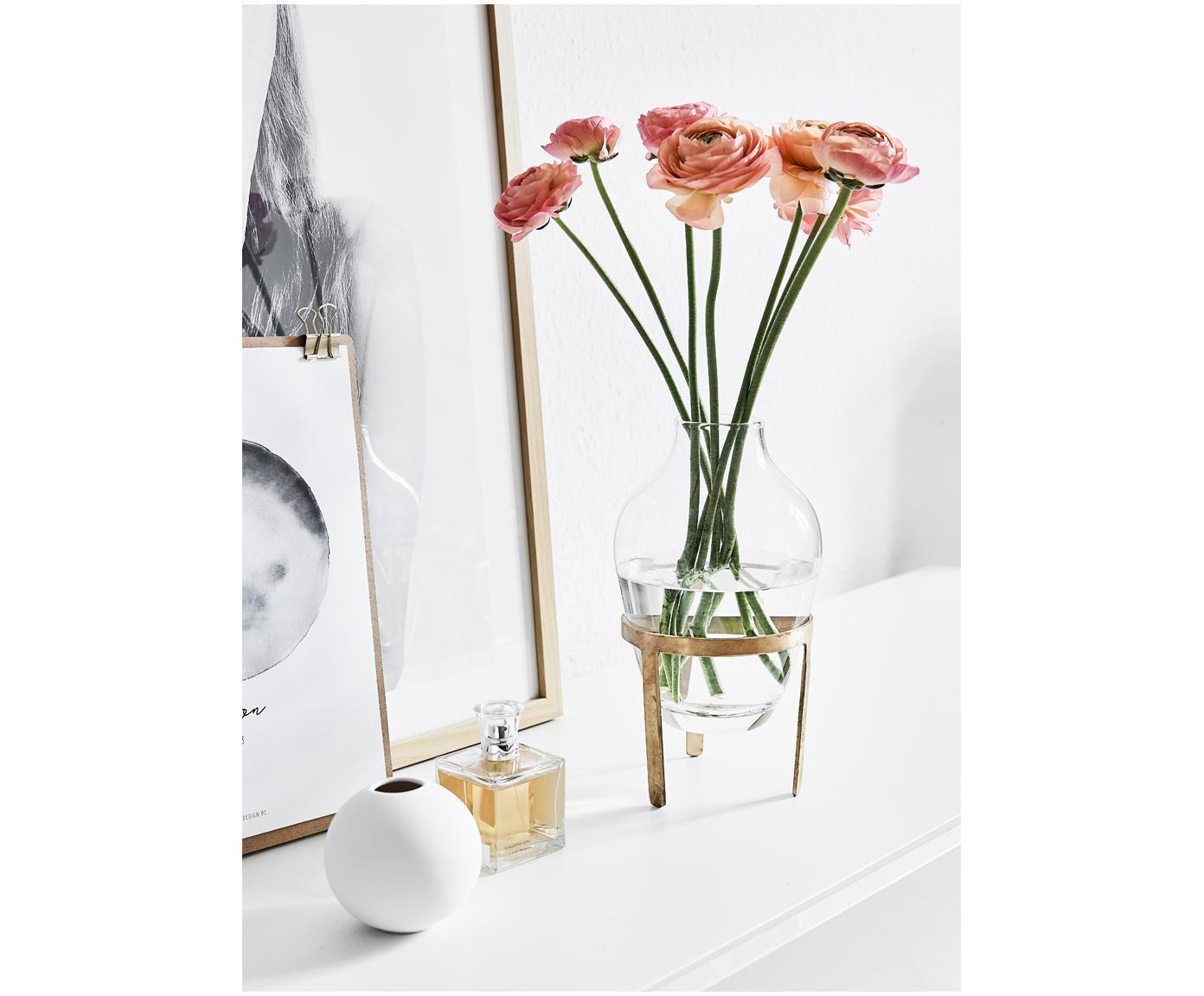 Vase Adorn, Gestell: Messing, Vase: Glas, Gestell: Messing, mattVase: Transparent, Ø 14 x H 27 cm
