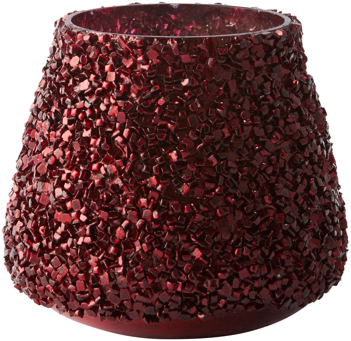 Teelichthalter Anolia, Glas, Dunkelrot, Ø 9 x H 8 cm