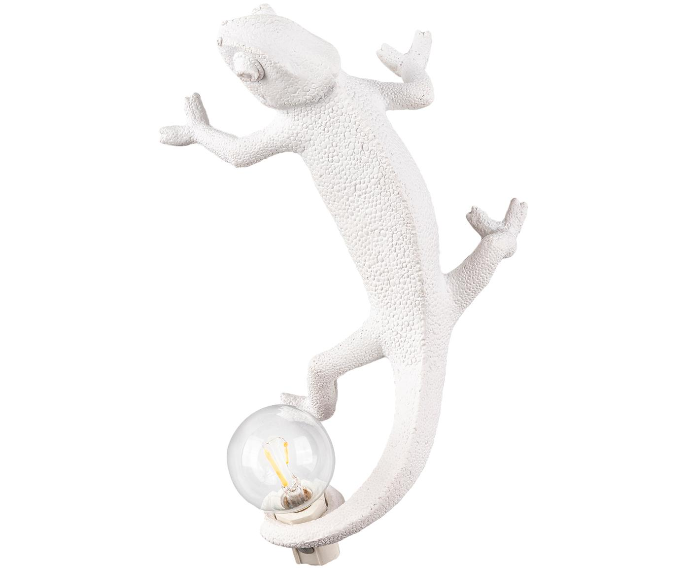 Design Wandleuchte Chameleon mit Stecker, Polyresin, Weiss, 7 x 17 cm
