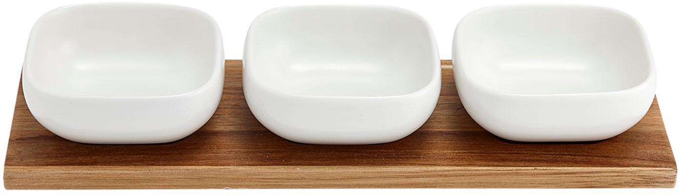 Set ciotole in porcellana e legno di acacia Essentials 4 pz, Vassoio: legno d'acacia, Bianco, legno d'acacia, Set in varie misure