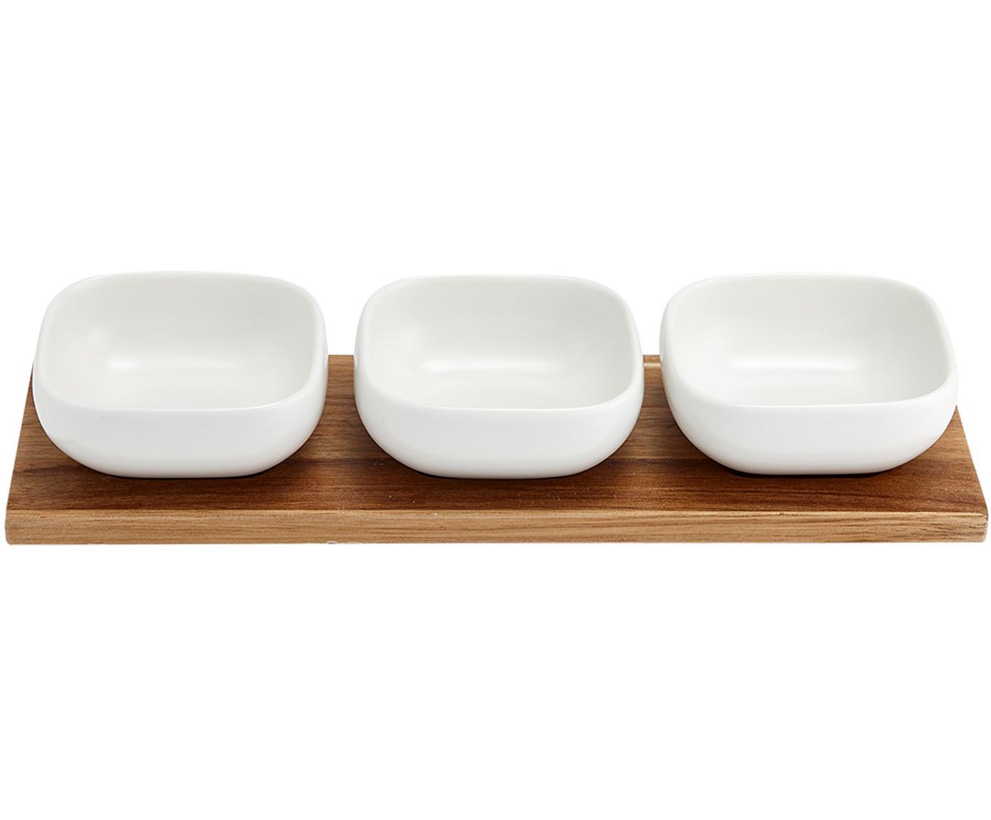 Schälchen Essentials aus Porzellan und Akazienholz, 4er-Set, Schälchen: Porzellan, Tablett: Akazienholz, Weiß, Akazienholz, Sondergrößen
