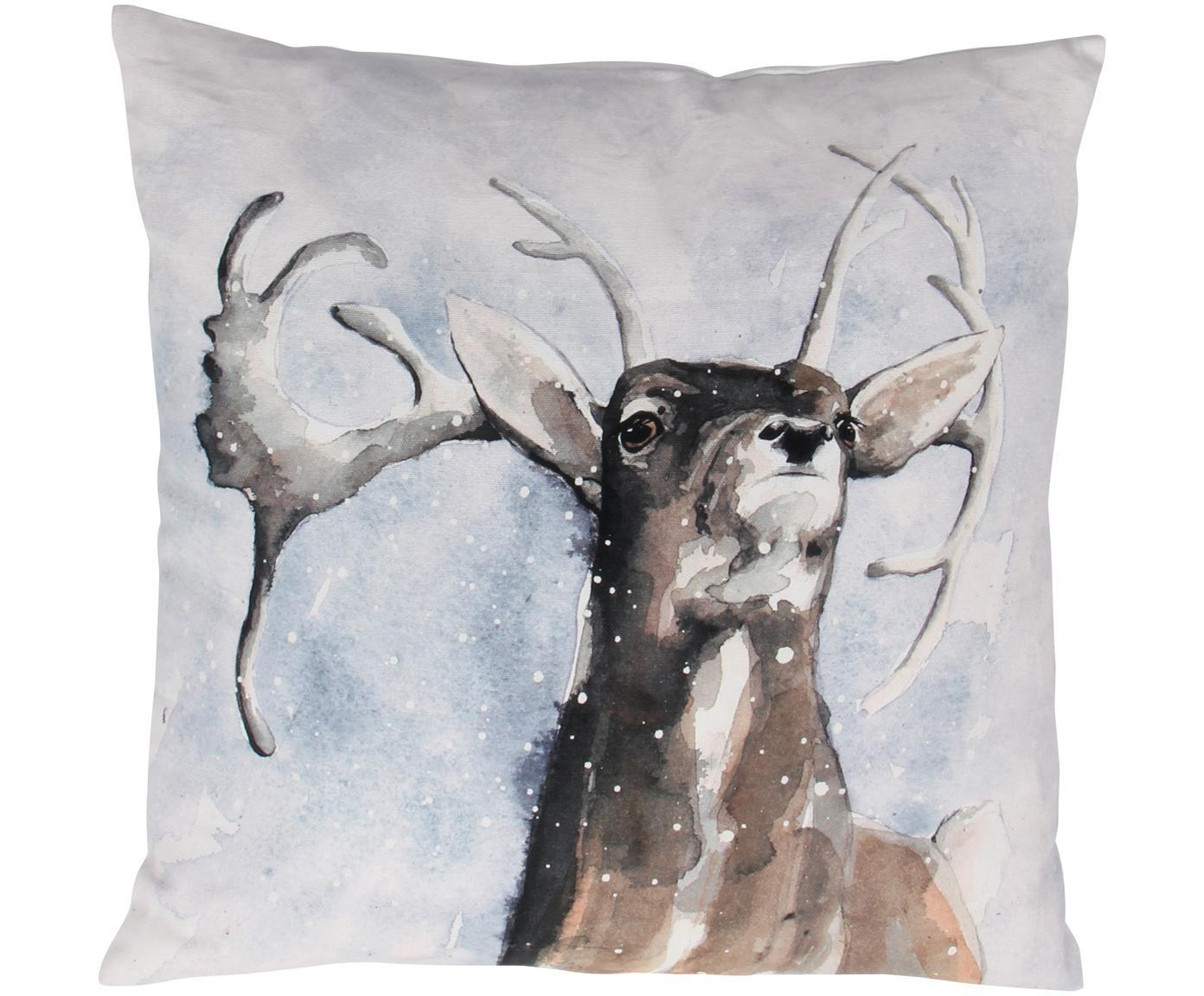 Kissenhülle Dasher mit winterlichem Motiv, Baumwolle, Mehrfarbig, 50 x 50 cm