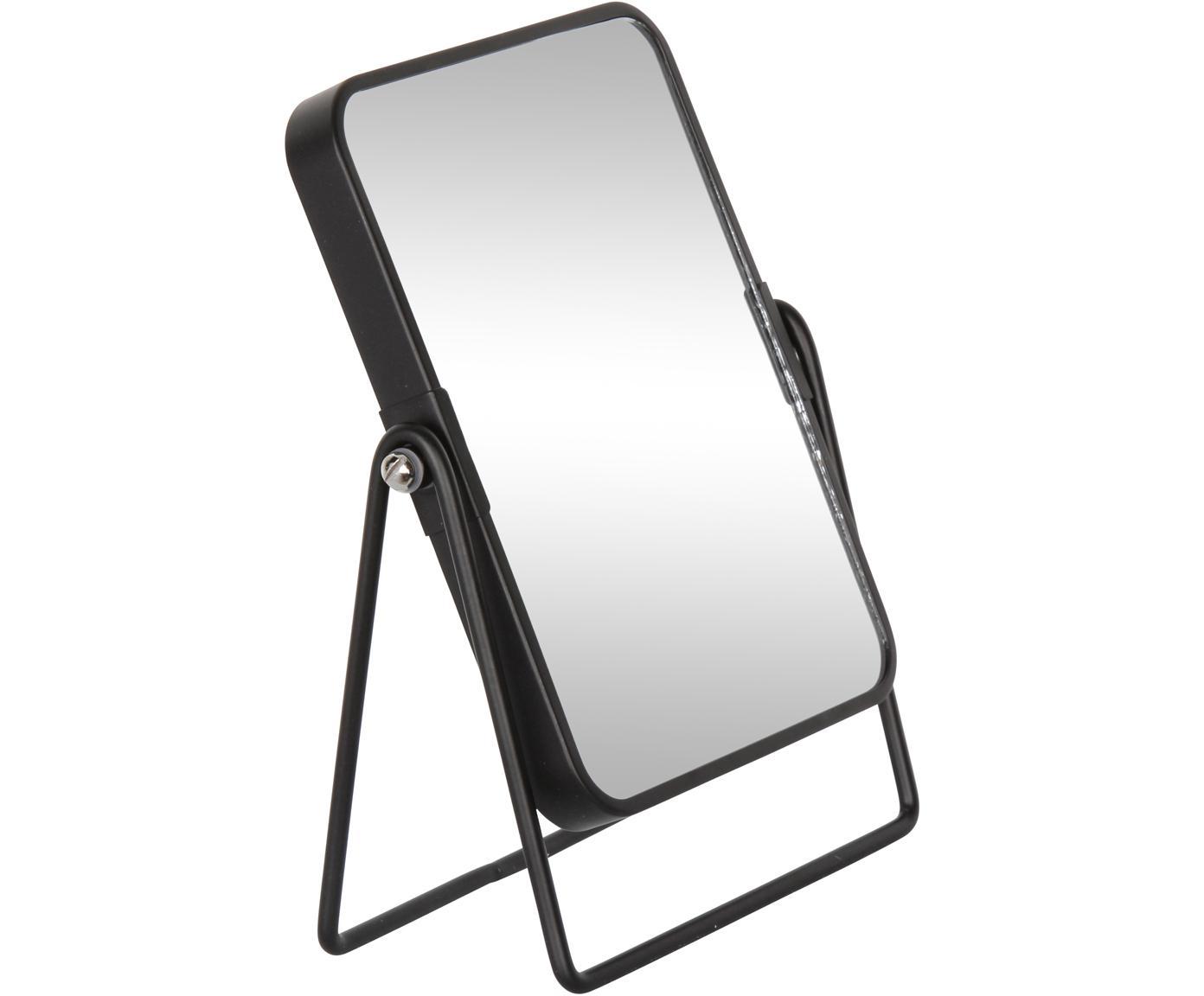 Kosmetikspiegel Doppio, Glas, Metall, Schwarz, Spiegelglas, 16 x 21 cm