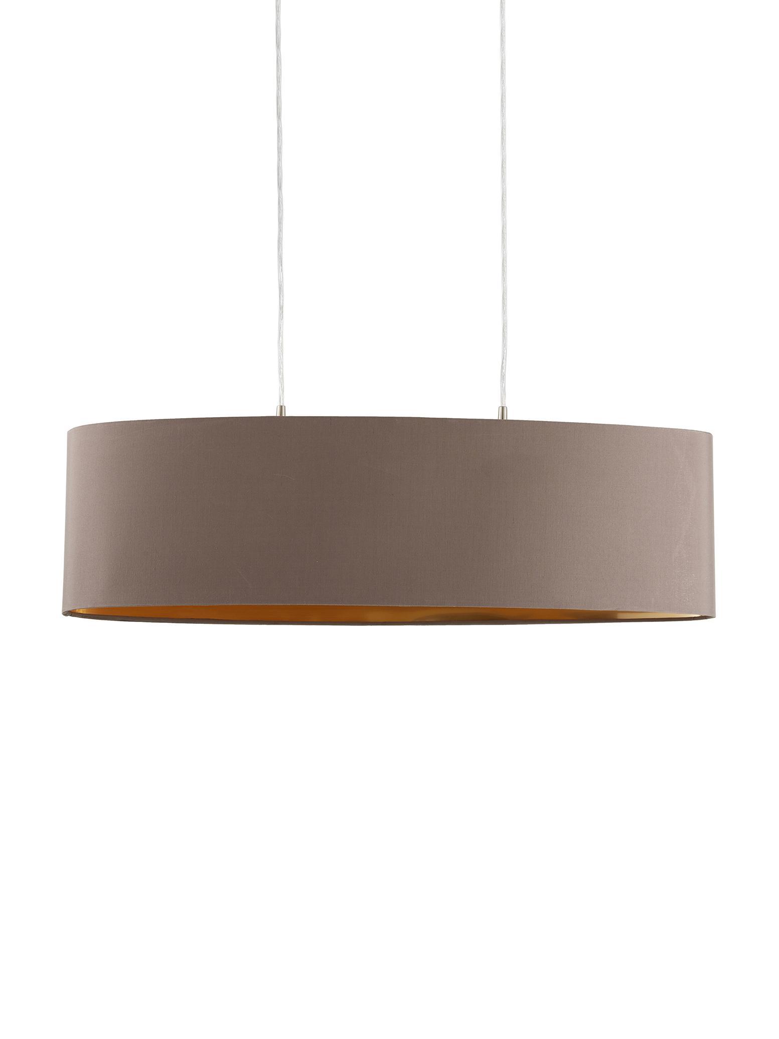 Lampada a sospensione ovale Jamie, Baldacchino: metallo nichelato, Argento, grigio-beige, Larg. 78 x Alt. 22 cm