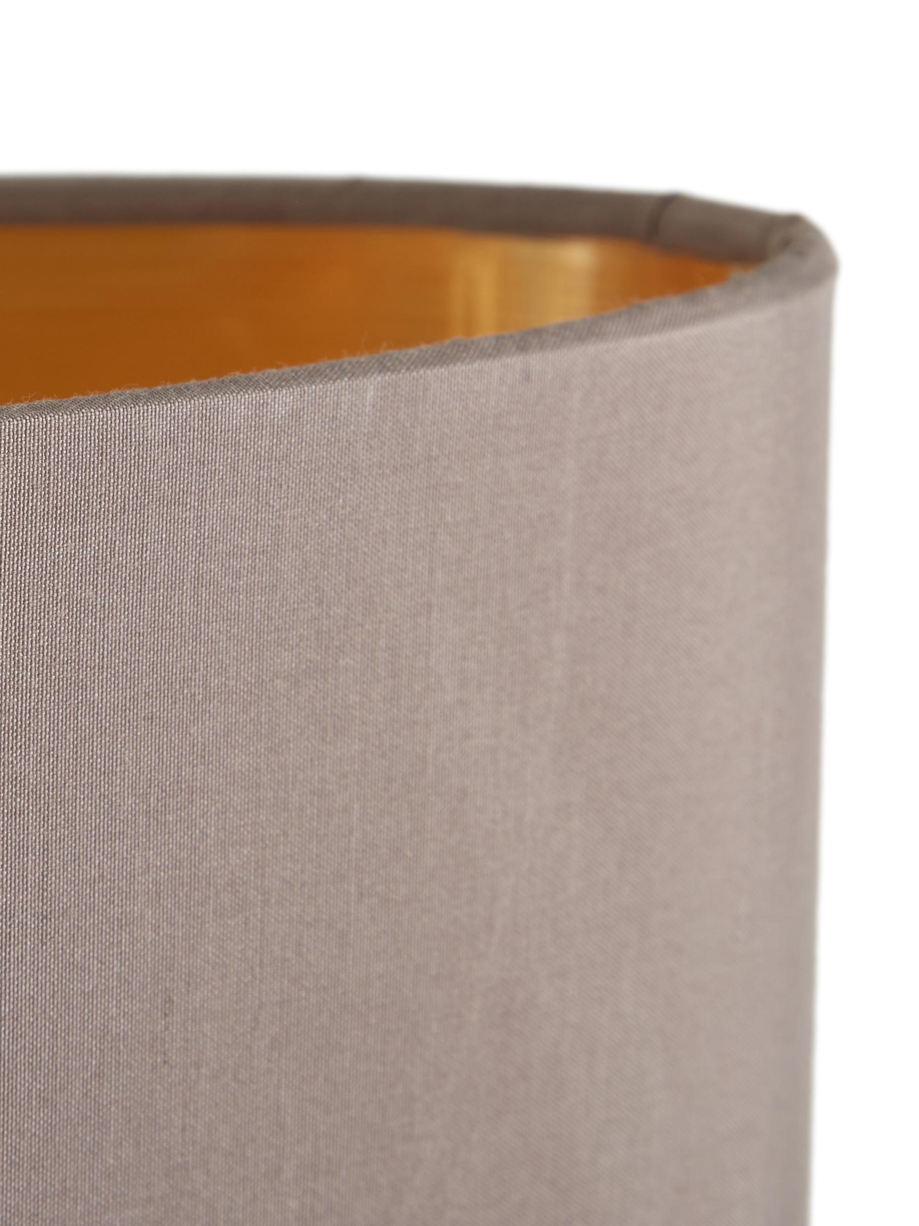 Ovale Pendelleuchte Jamie, Baldachin: Metall, vernickelt, Silberfarben,Grau-Beige, 78 x 22 cm