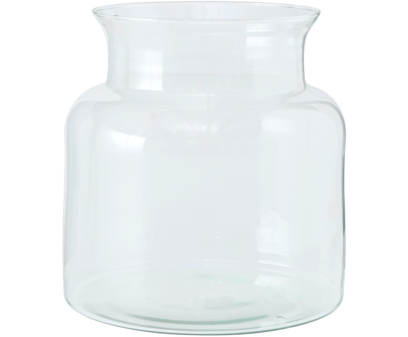 Jarrón artesanal de vidrio reciclado Eco, Vidrio reciclado, Transparente, Ø 18 x Al 20 cm