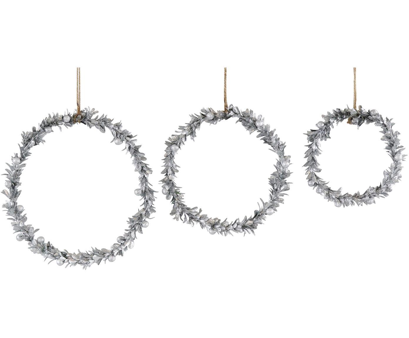 Set de adornos navideños Laurel, 3pzas., Espuma de poliestireno, plástico, metal, madera, Plateado, Set de diferentes tamaños