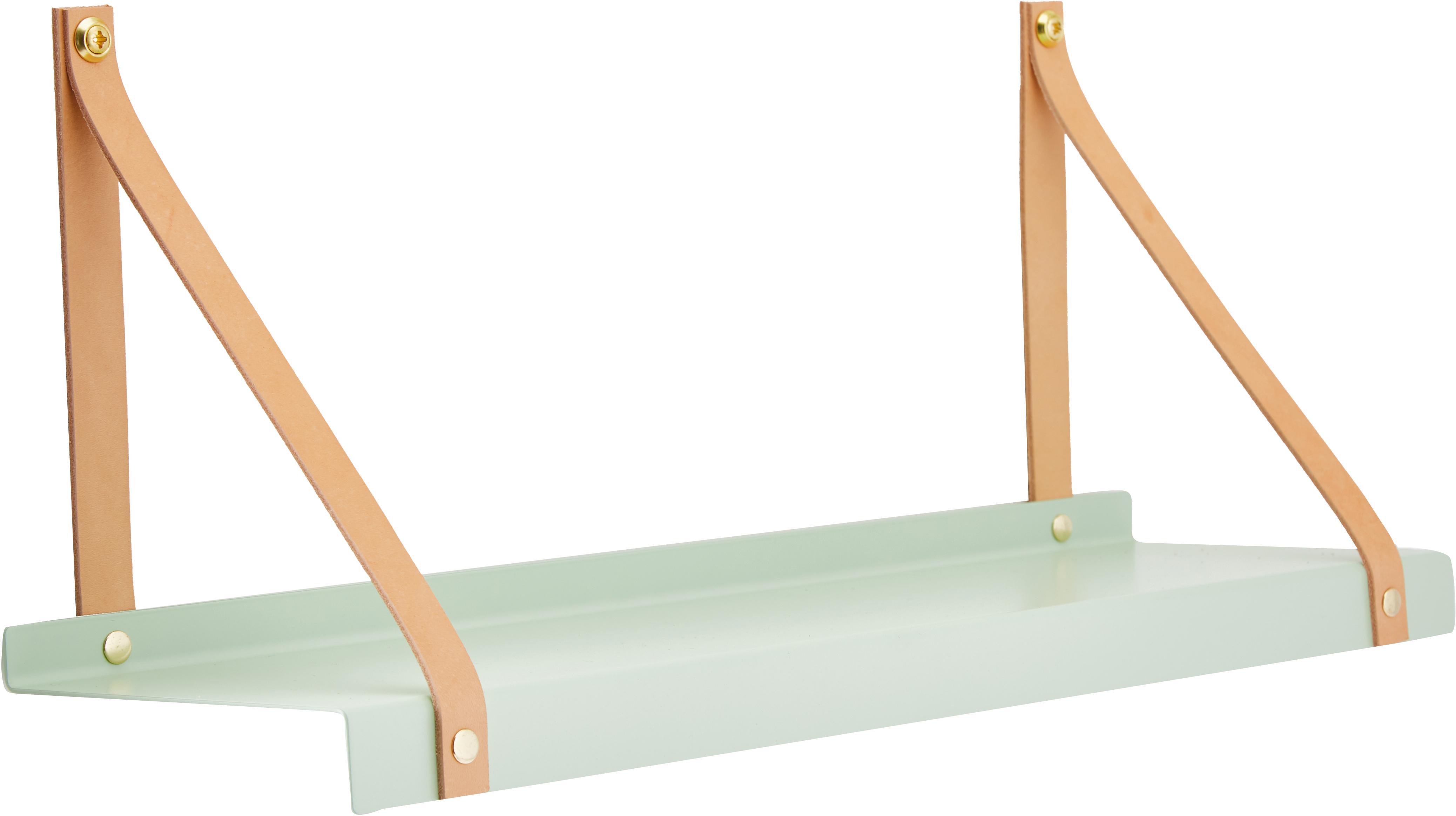 Półka ścienna z metalu ze skórzanymi paskami Shelfie, Miętowy, brązowy, S 50 x W 23 cm