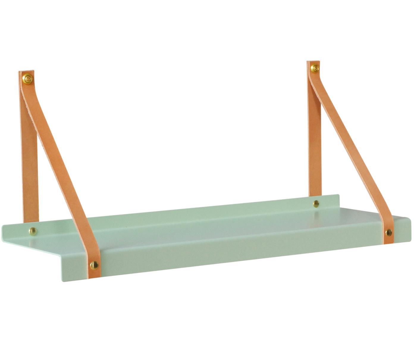 Wandplank Shelfie, Plank: gepoedercoat metaal, Riemen: leer, Mintgroen, bruin, B 50 x D 15 cm