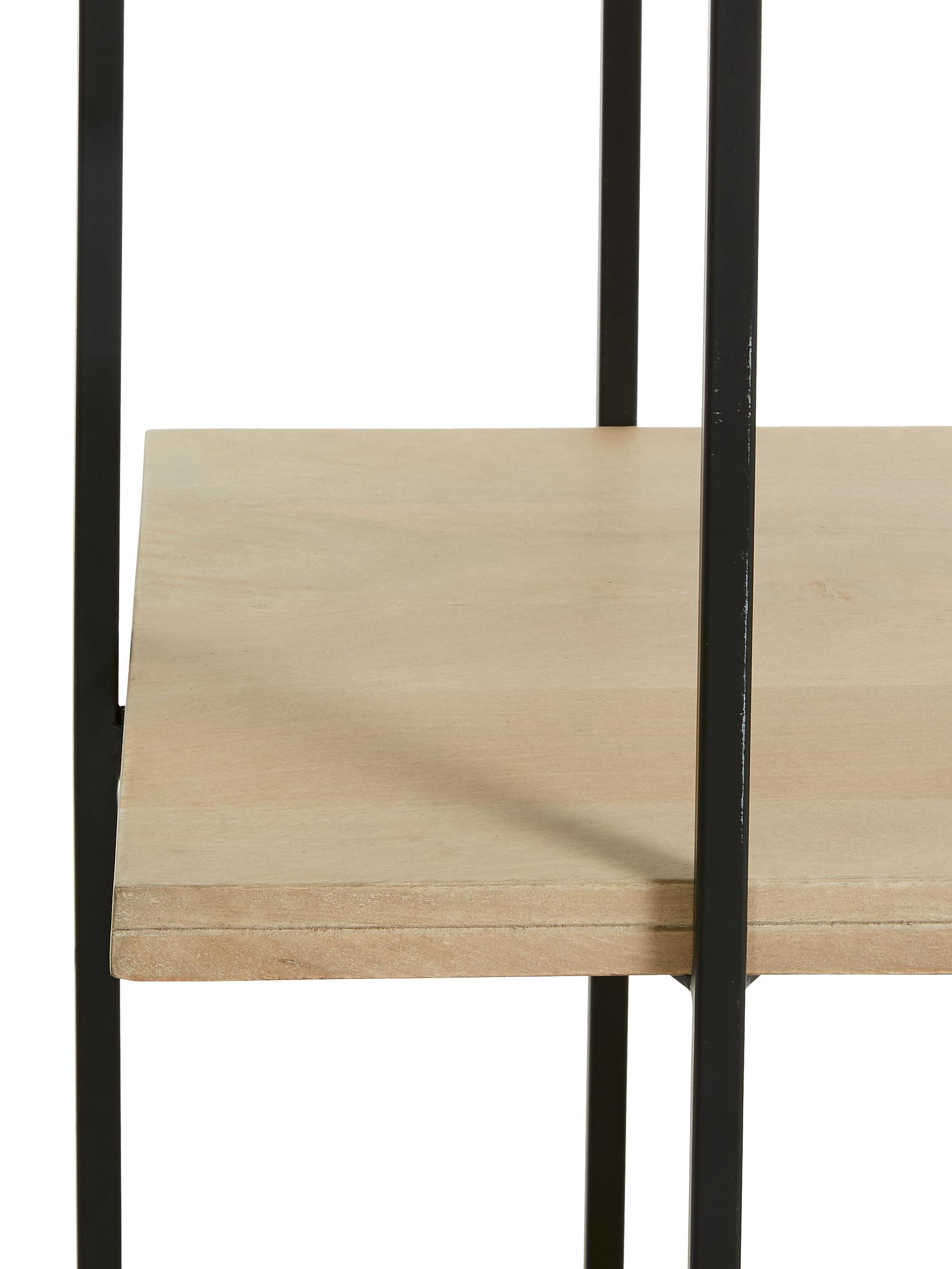 Standregal Palmia aus Holz und Metall, Gestell: Metall, lackiert, Schwarz, Braun, 100 x 191 cm