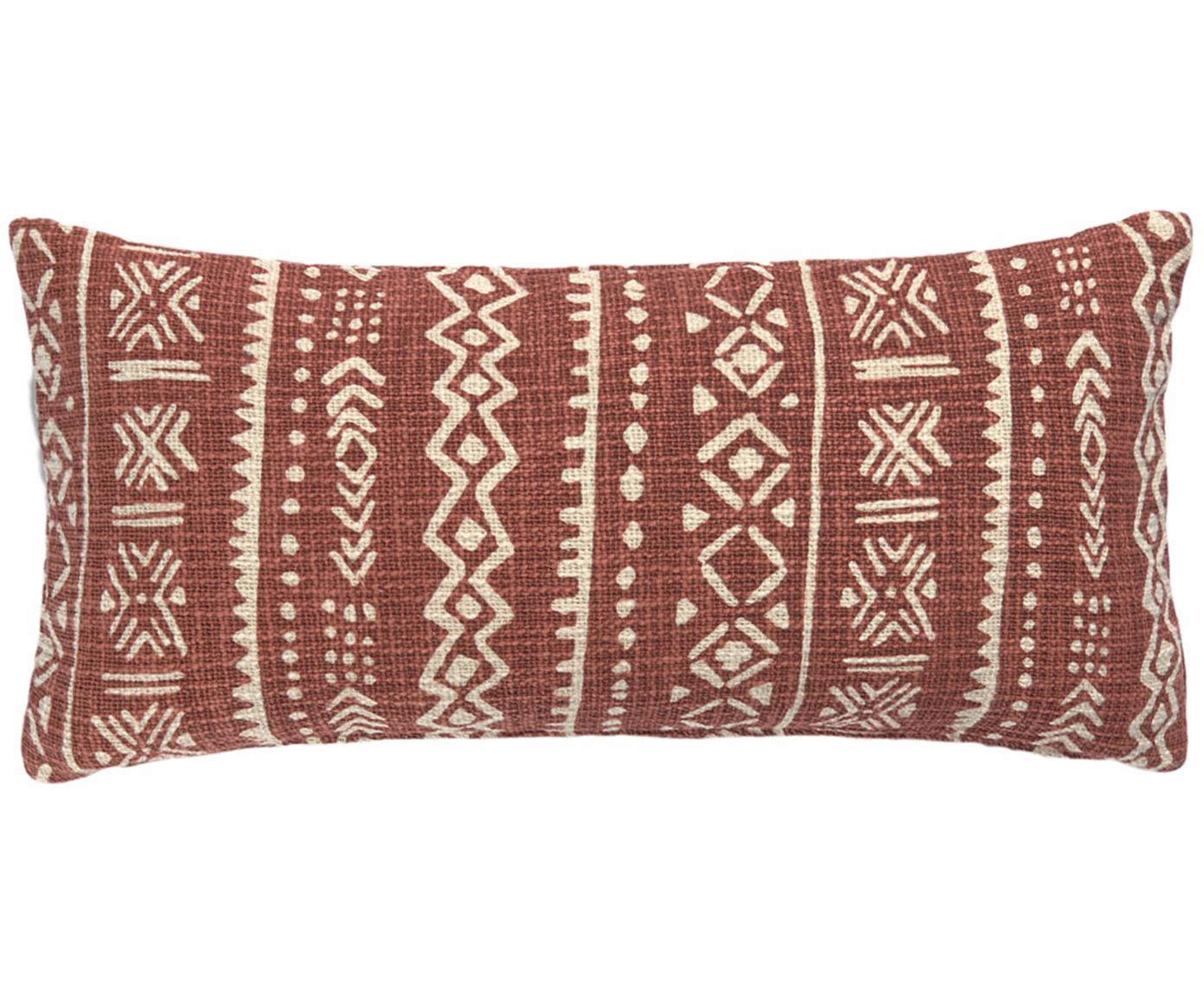 Federa arredo con motivo grafico Masai, Cotone, Bianco latteo, marrone, Larg. 30 x Lung. 60 cm