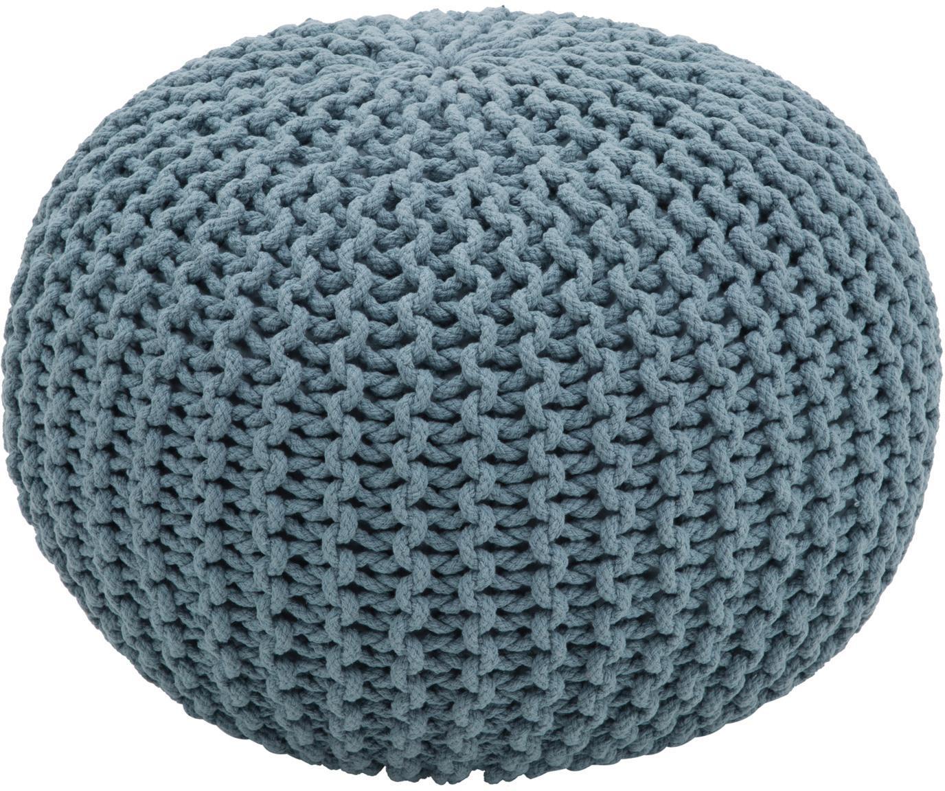 Puf de punto artesanal Dori, Tapizado: 100%algodón, Azul petróleo, Ø 55 x Al 35 cm