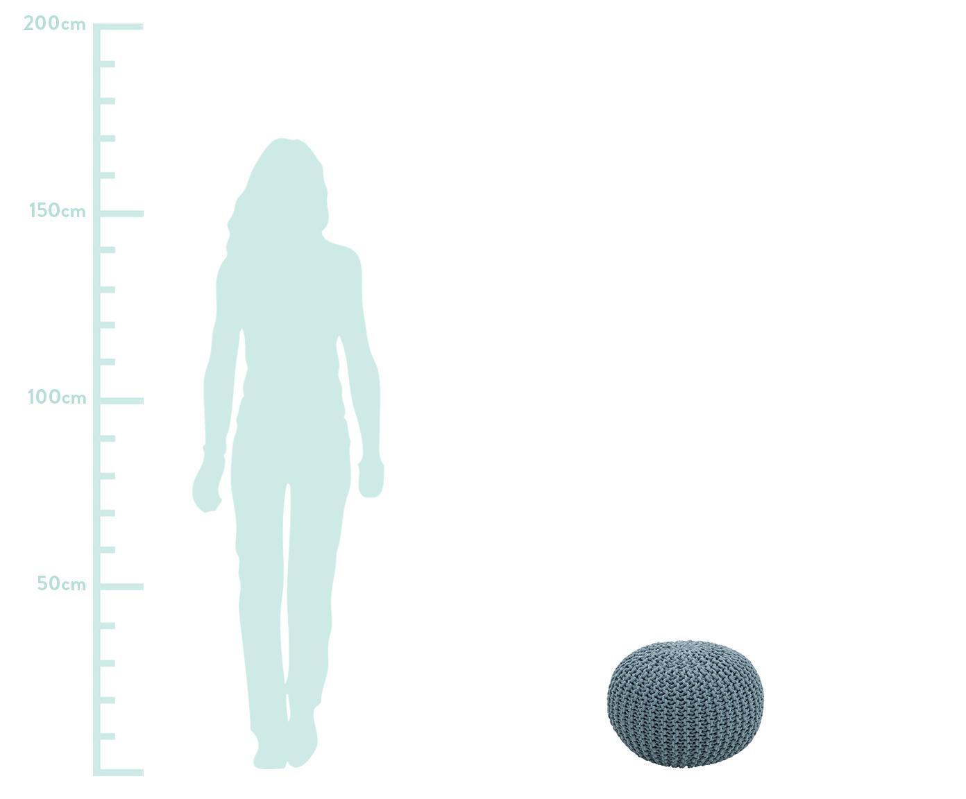 Handgefertigter Strickpouf Dori, Bezug: 100% Baumwolle, Petrol, Ø 55 x H 35 cm