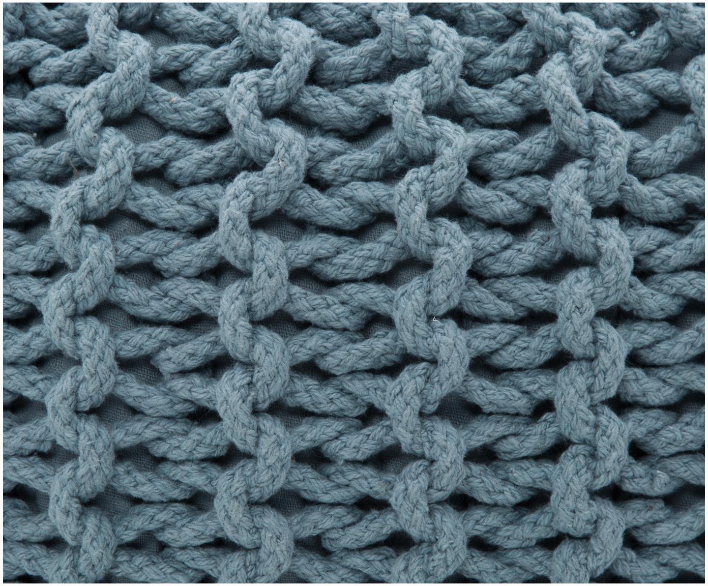 Ręcznie wykonany puf z dzianiny Dori, Tapicerka: 100% bawełna, Petrol, Ø 55 x W 35 cm