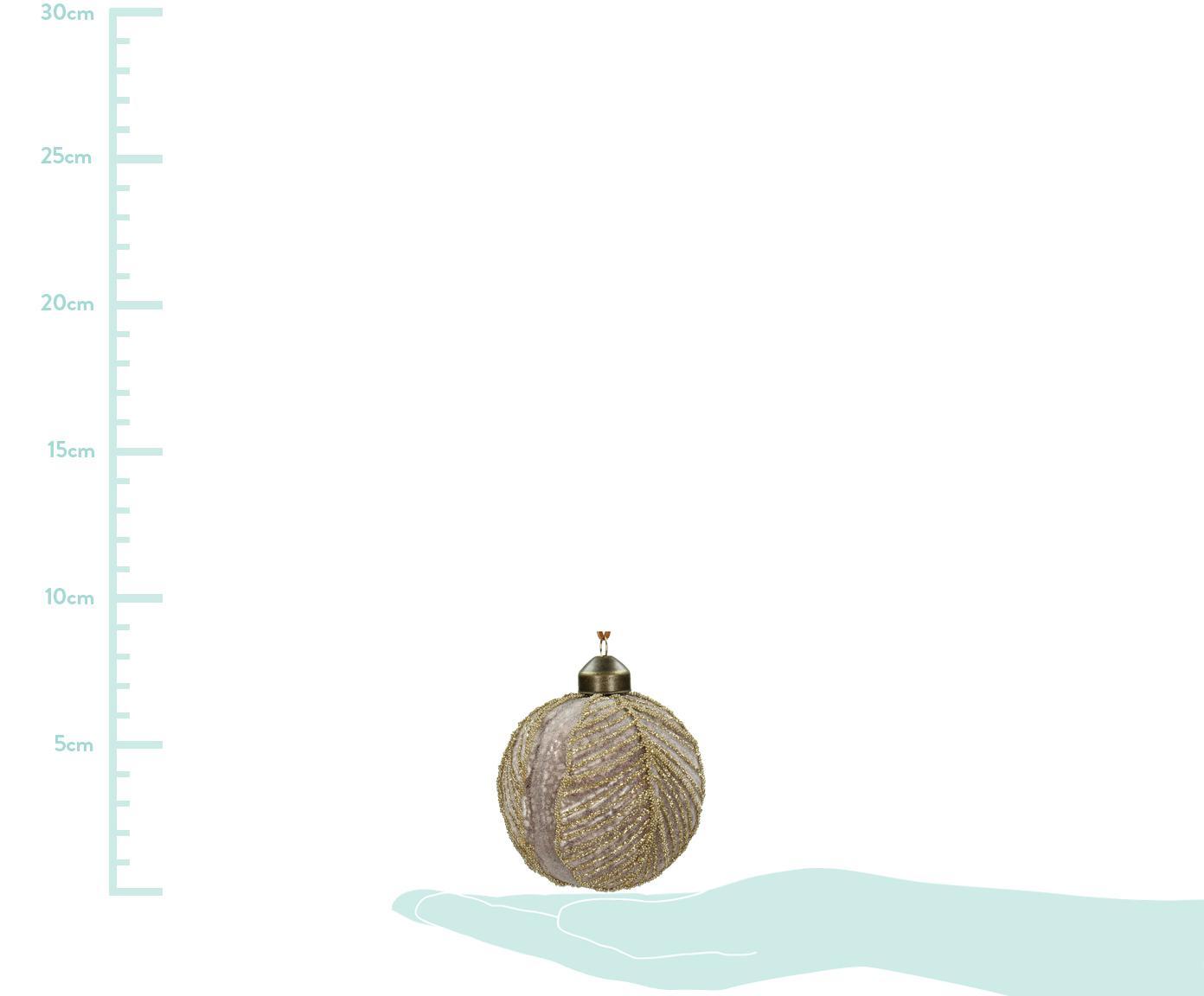 Weihnachtskugeln Leaf Ø8cm, 2Stück, Glas, Polyester, Rosa, Ø 8 cm
