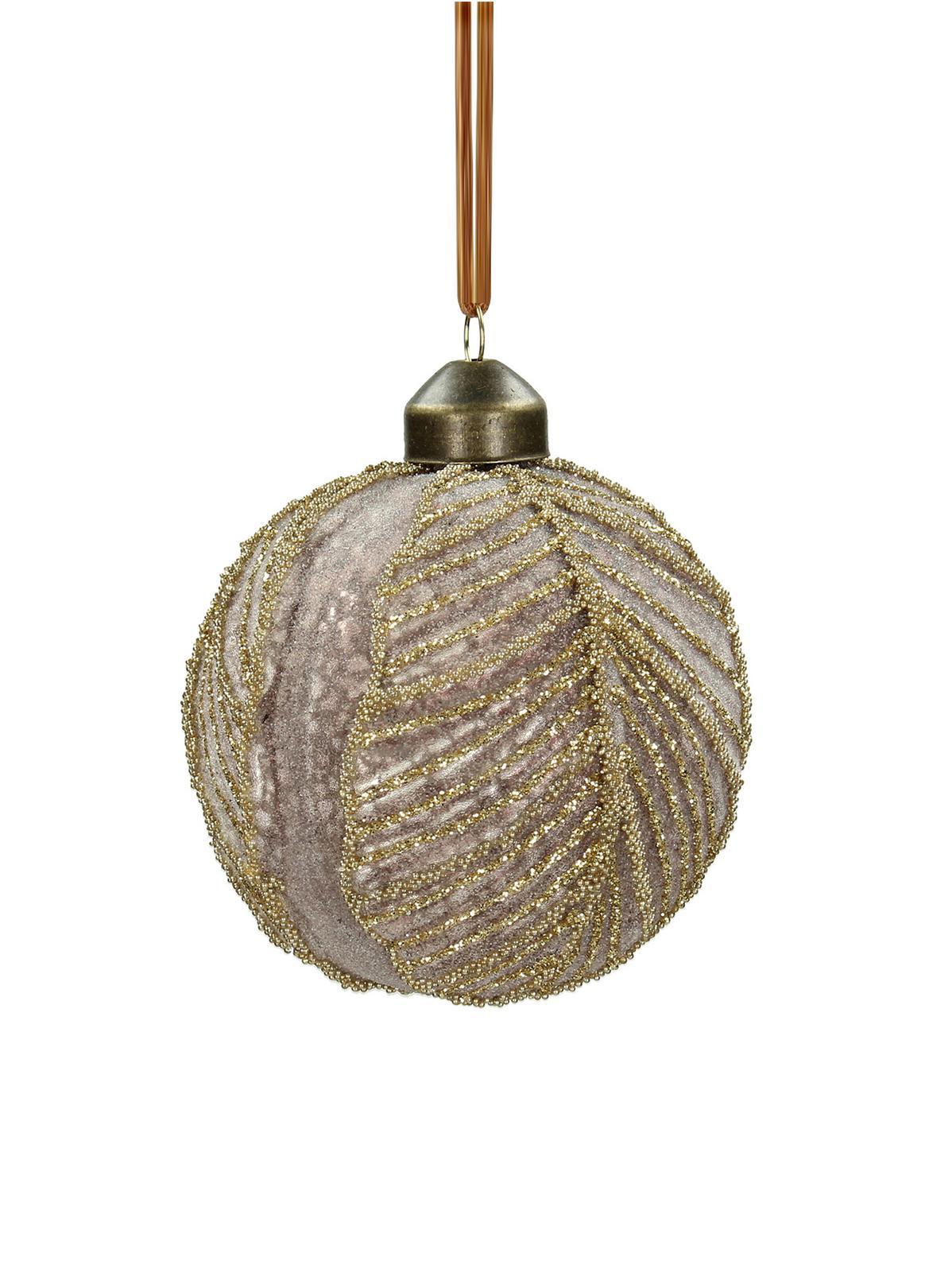 Palla di Natale Leaf Ø 8 cm, 2 pz, Vetro, poliestere, Rosa, Ø 8 cm