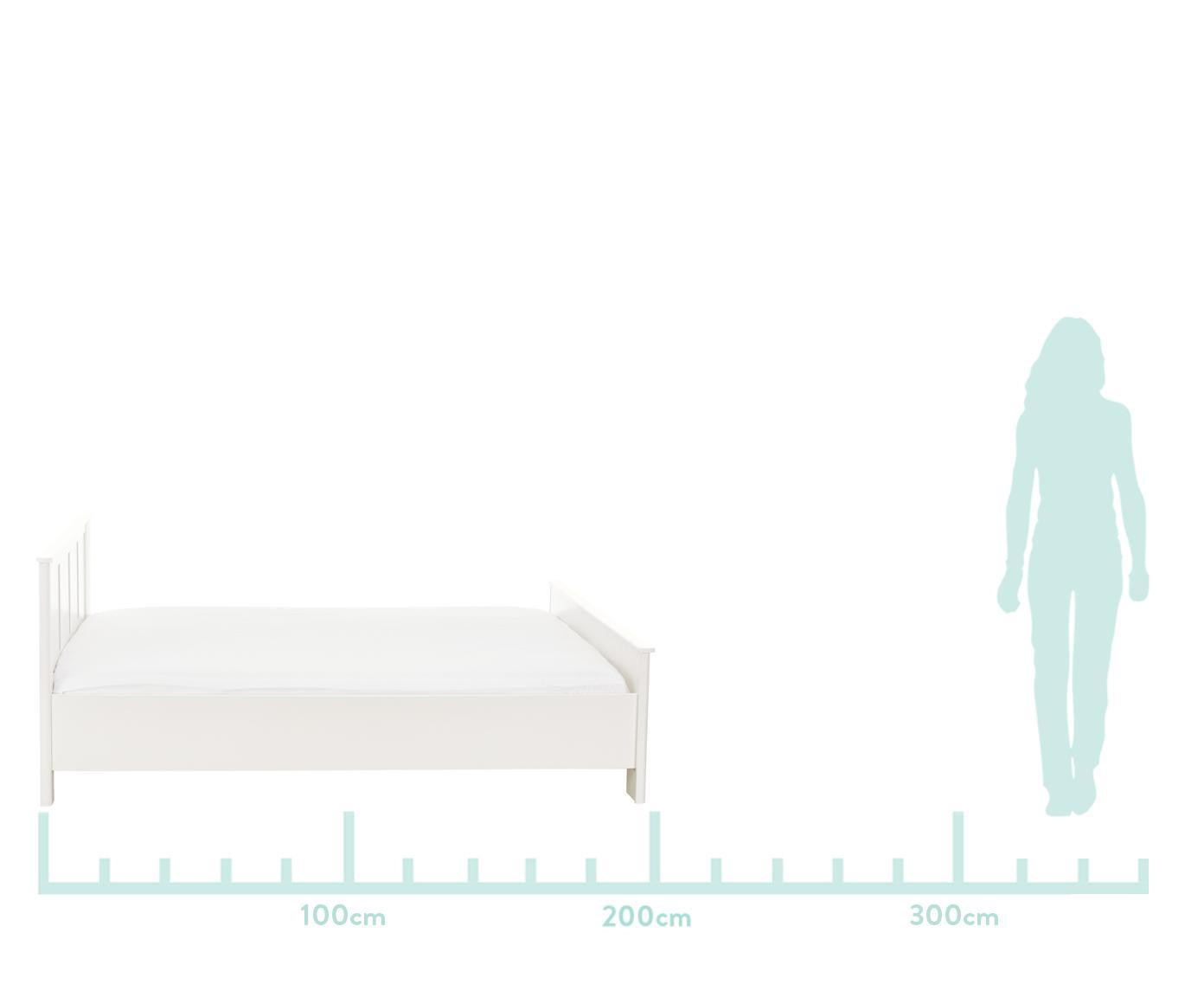 Letto matrimoniale in legno bianco Chalet, Truciolato sventato, Bianco, 160 x 200 cm