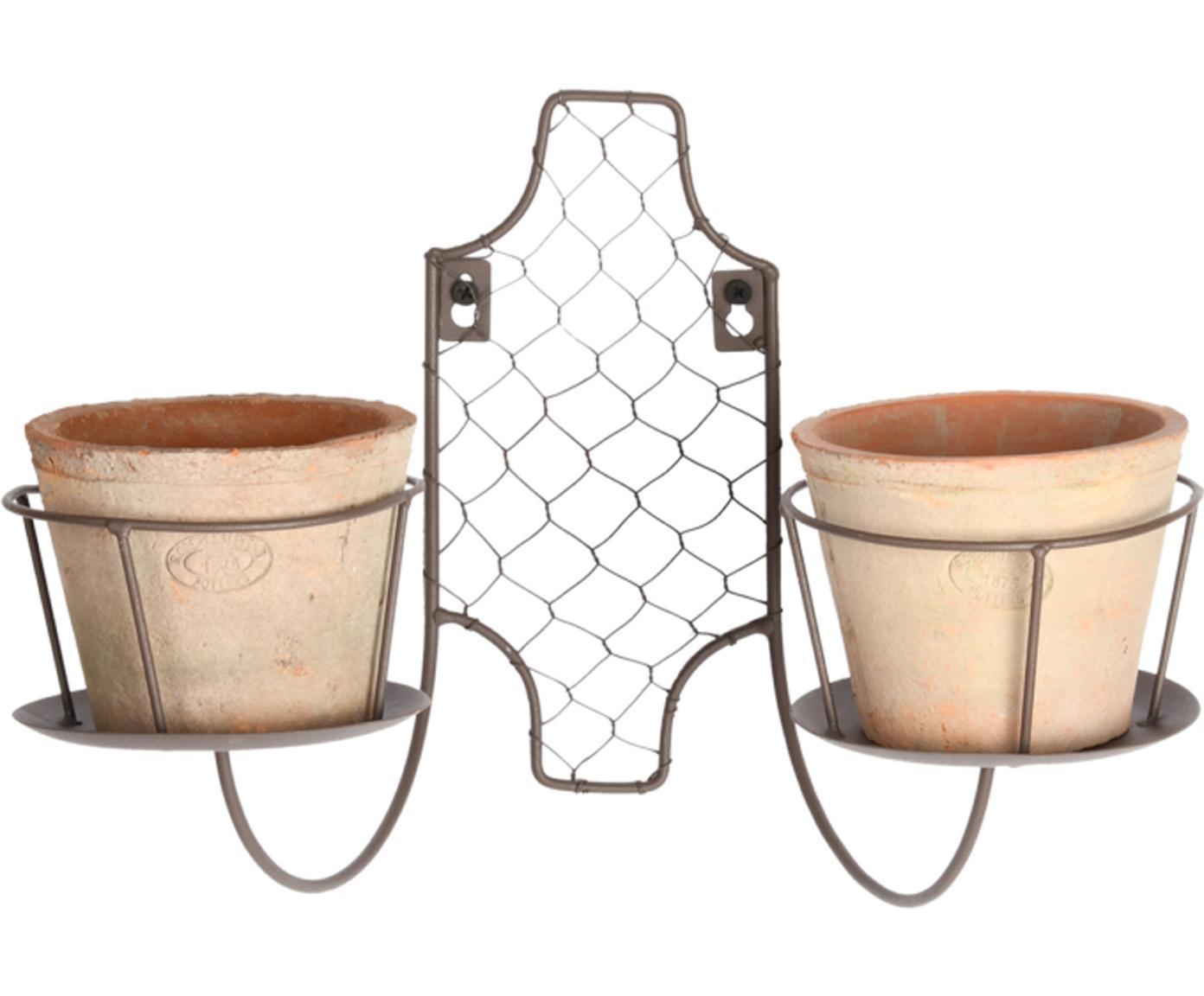 Set de macetas Daria, 3pzas., Anclaje: metal galvanizado, Terracota, negro, An 35 x Al 24 cm