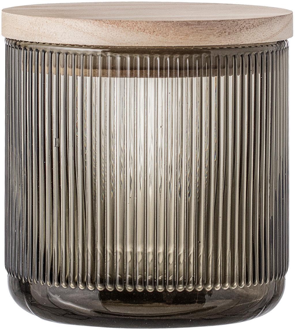 Glazen opbergpot Gianna met groefstructuur, Deksel: hout, siliconen, Grijs, houtkleurig, Ø 12 x H 12 cm
