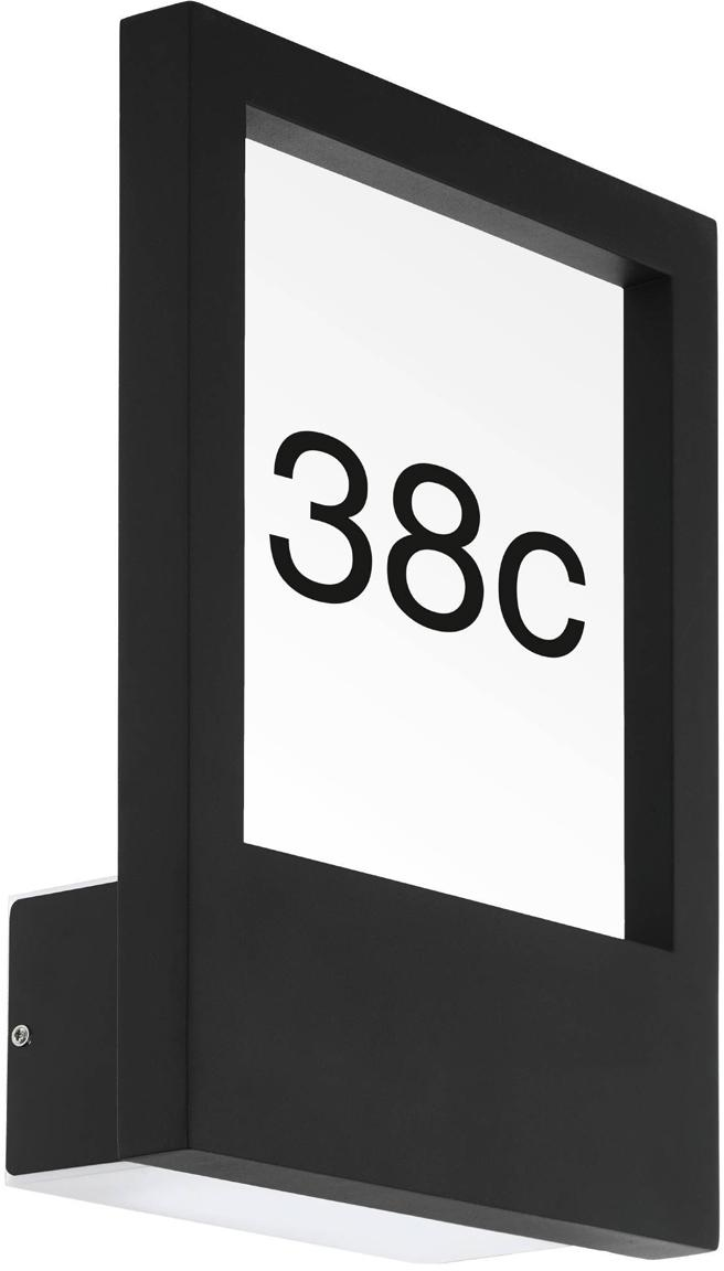 Illuminazione numero civico Monteros, Alluminio, vetro, materiale sintetico, Antracite, Larg. 25 x Alt. 34 cm