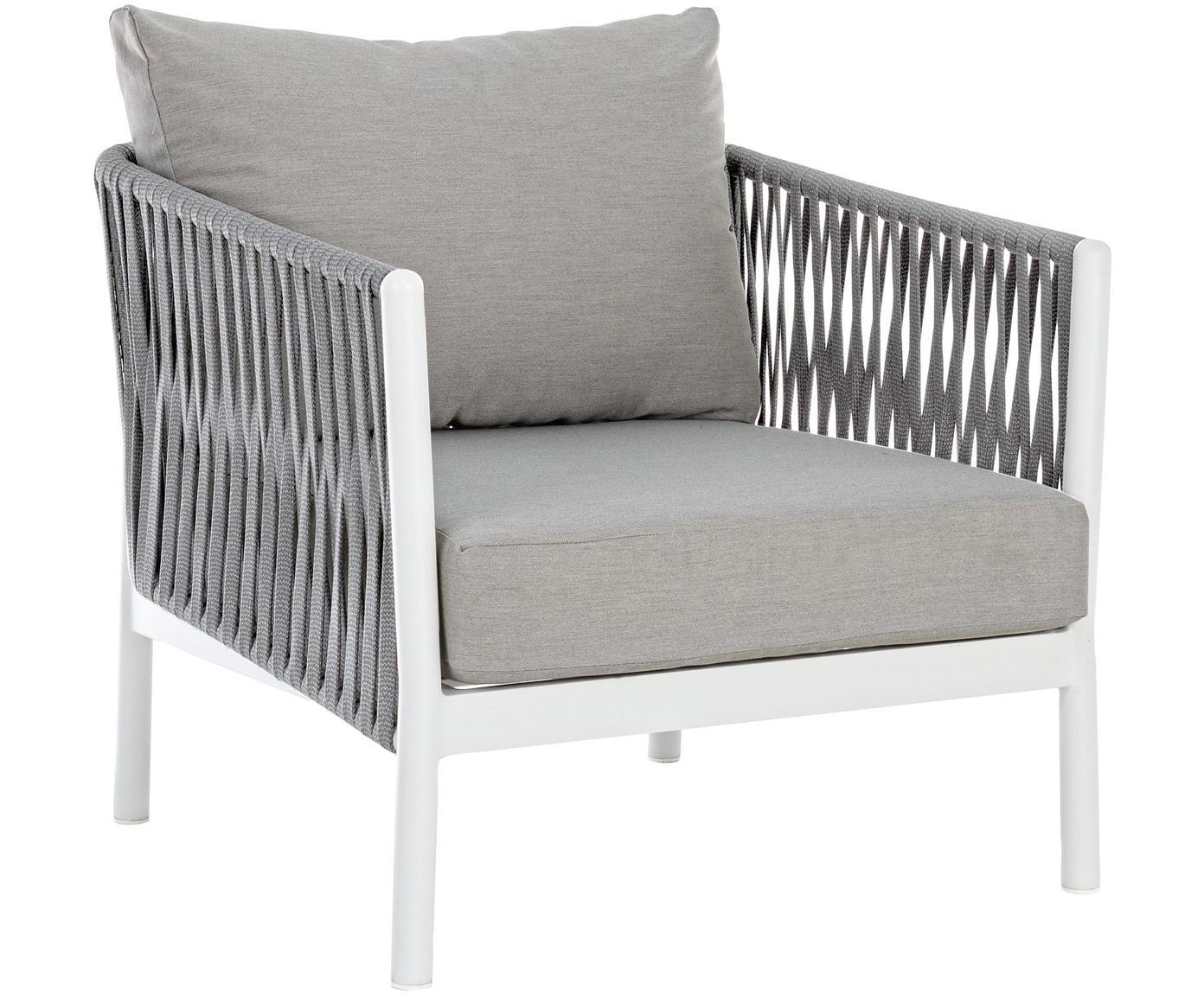 Outdoor fauteuil Florencia, Frame: gepoedercoat aluminium, Zitvlak: polyester, Grijs, wit, B 80 x D 85 cm