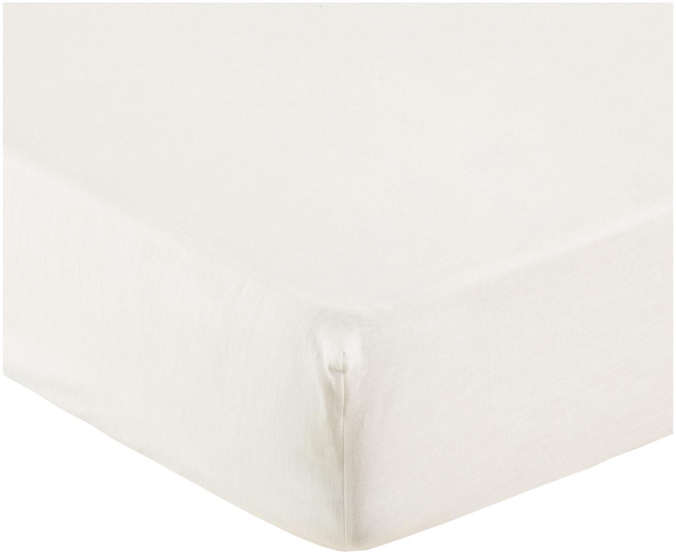 Lenzuolo con angoli in lino Soffio, Crema, Larg. 180 x Lung. 200 cm