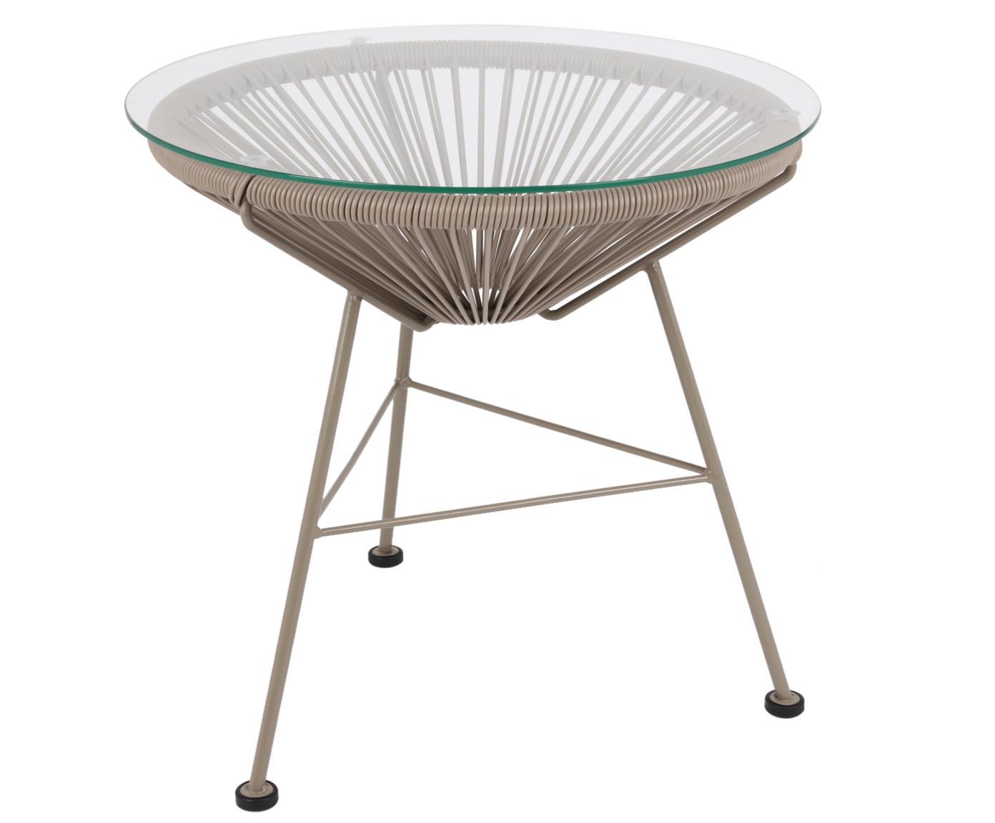 Tavolino Mezcal, Piano d'appoggio: vetro, spessore, Struttura: metallo verniciato a polv, Plastica: taupe. Telaio: taupe, Ø 53 x A 50 cm