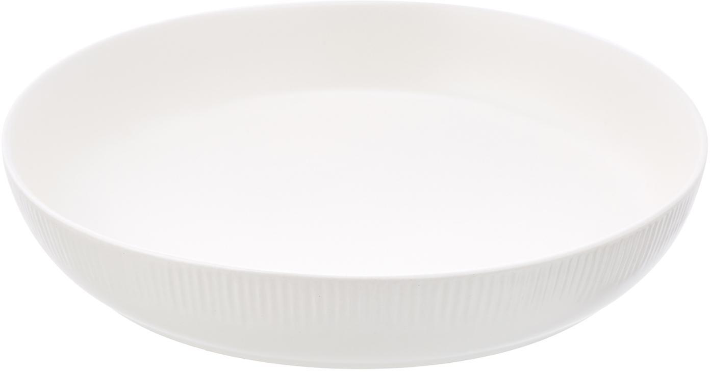 Handgemachte Servierschale Sandvig mit leichtem Rillenrelief, Porzellan, durchgefärbt, Gebrochenes Weiss, Ø 24 x H 4 cm